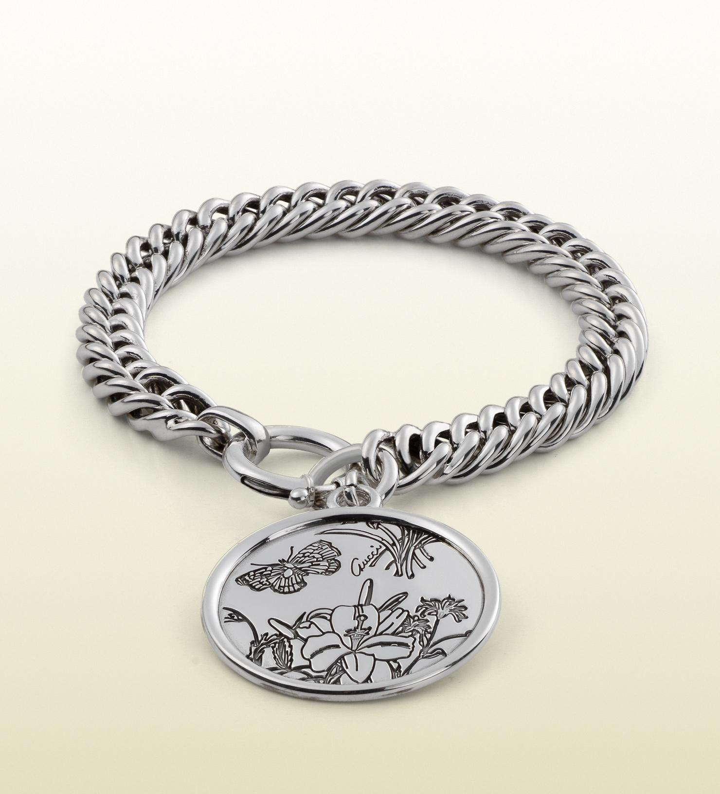 aa4e874baa96f Gucci Metallic Flora Bracelet In Sterling Silver for men