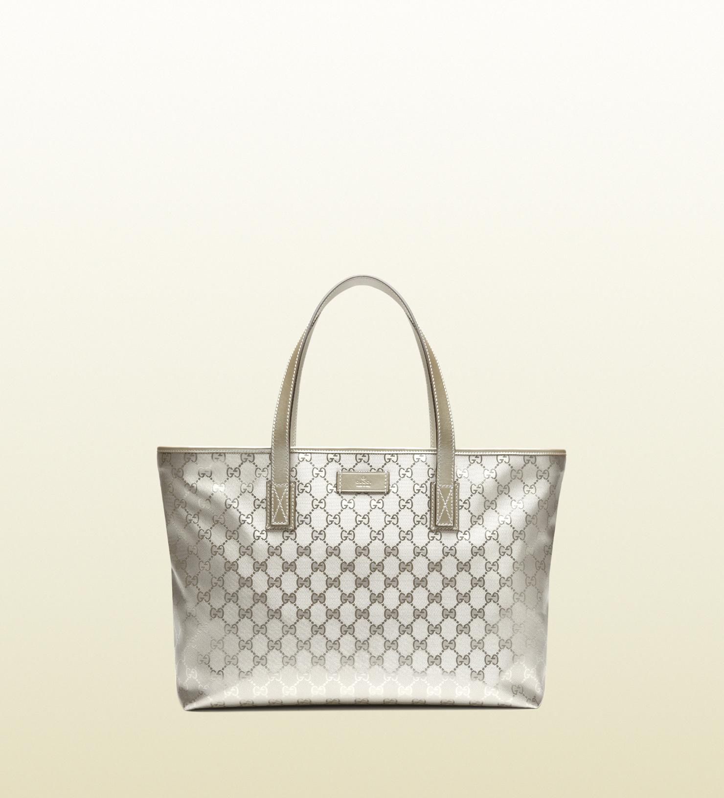 53c6174ff06 Gucci Silver Gg Imprime Tote in Metallic - Lyst