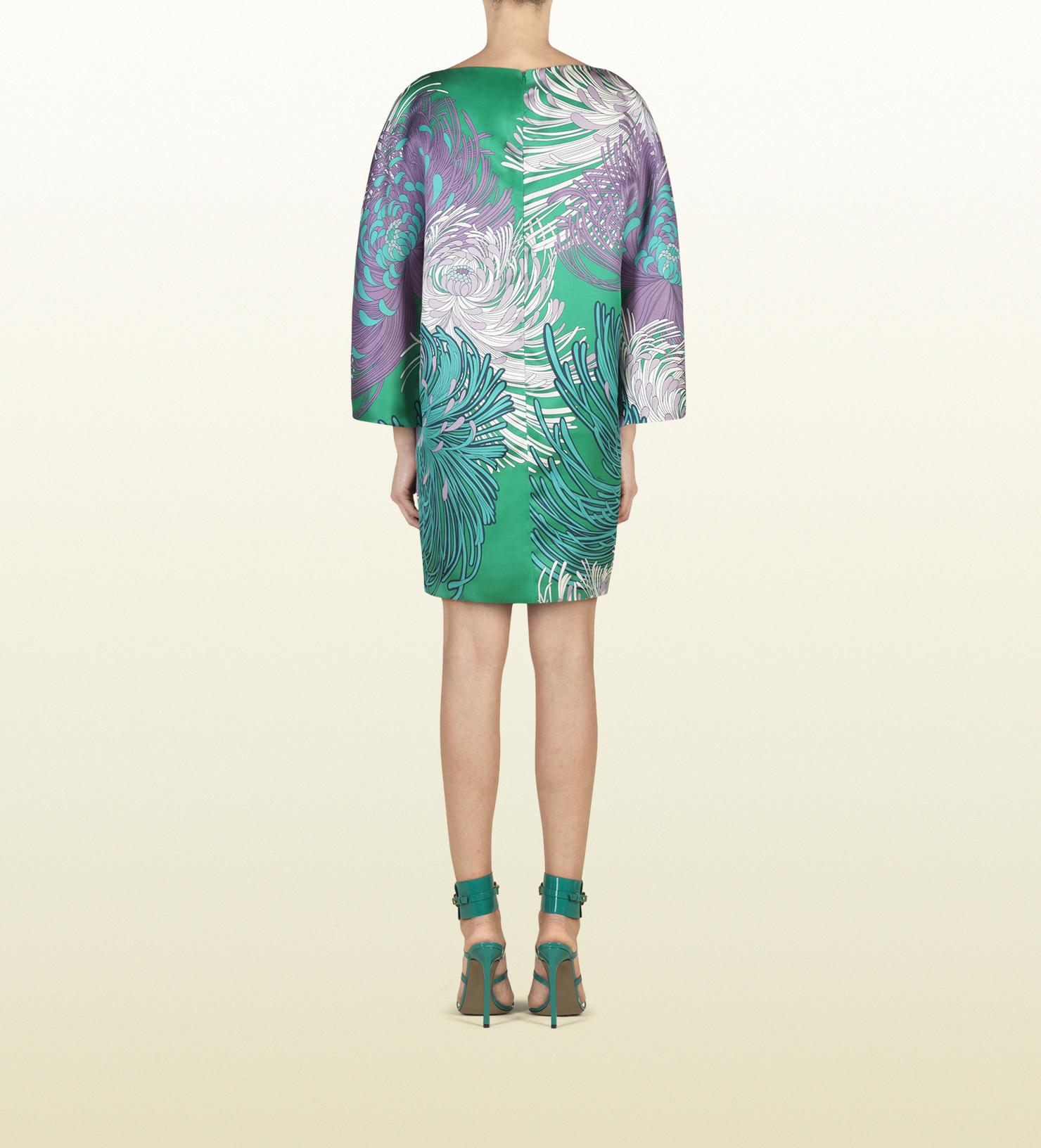 Lyst - Gucci Turquoise Green Dahlia Print Silk Oversized Dress