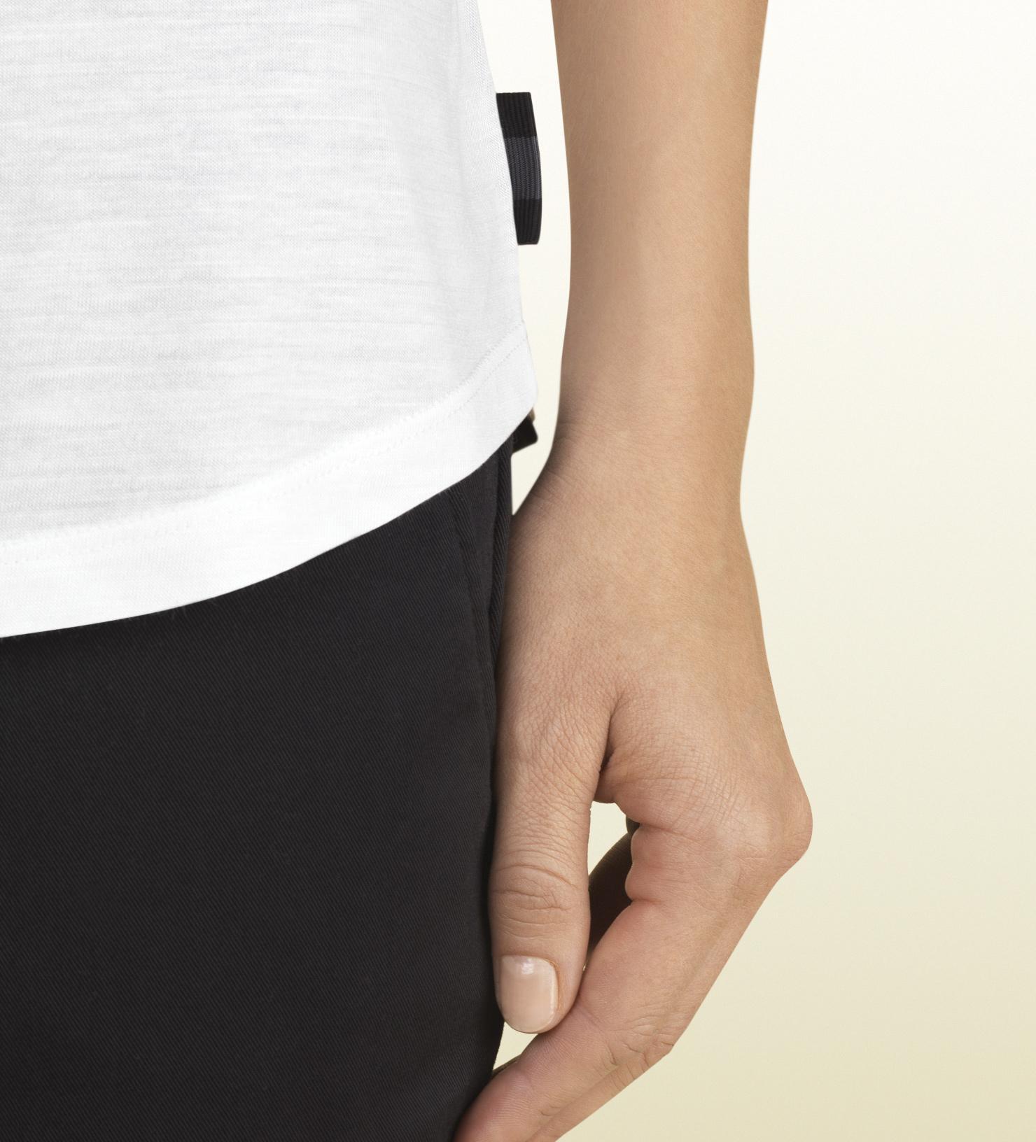 0ad577e0 Gucci Women's White Silk Jersey Short Sleeve T-shirt From Viaggio ...