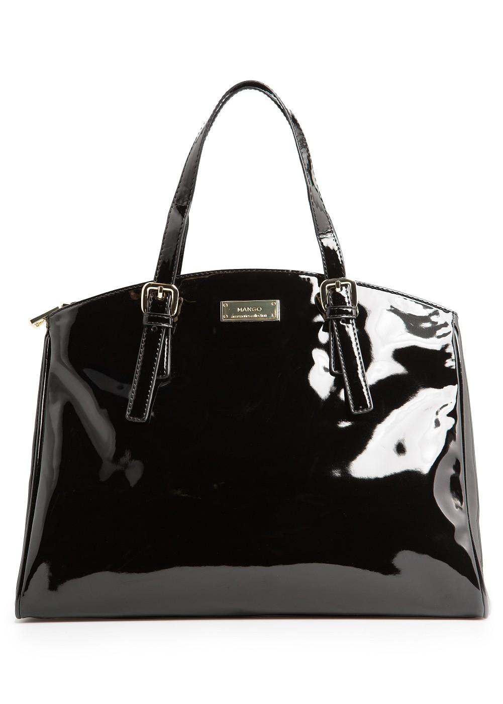 877869b0381 Lyst - Mango Patent Tote Bag in Black