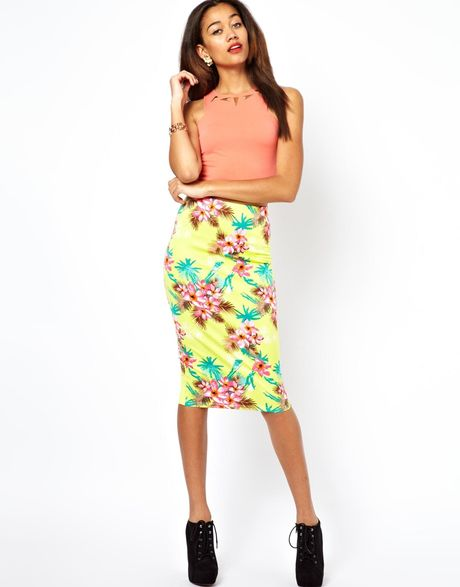 river island tropical print pencil skirt in yellow