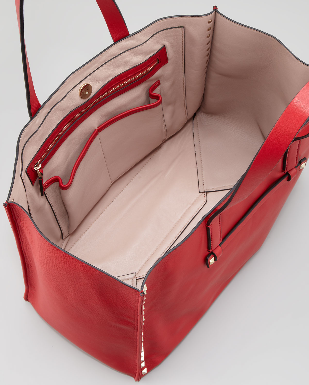 Valentino Rockstud Shopping Tote Bag in Red - Lyst db19ba14eaf