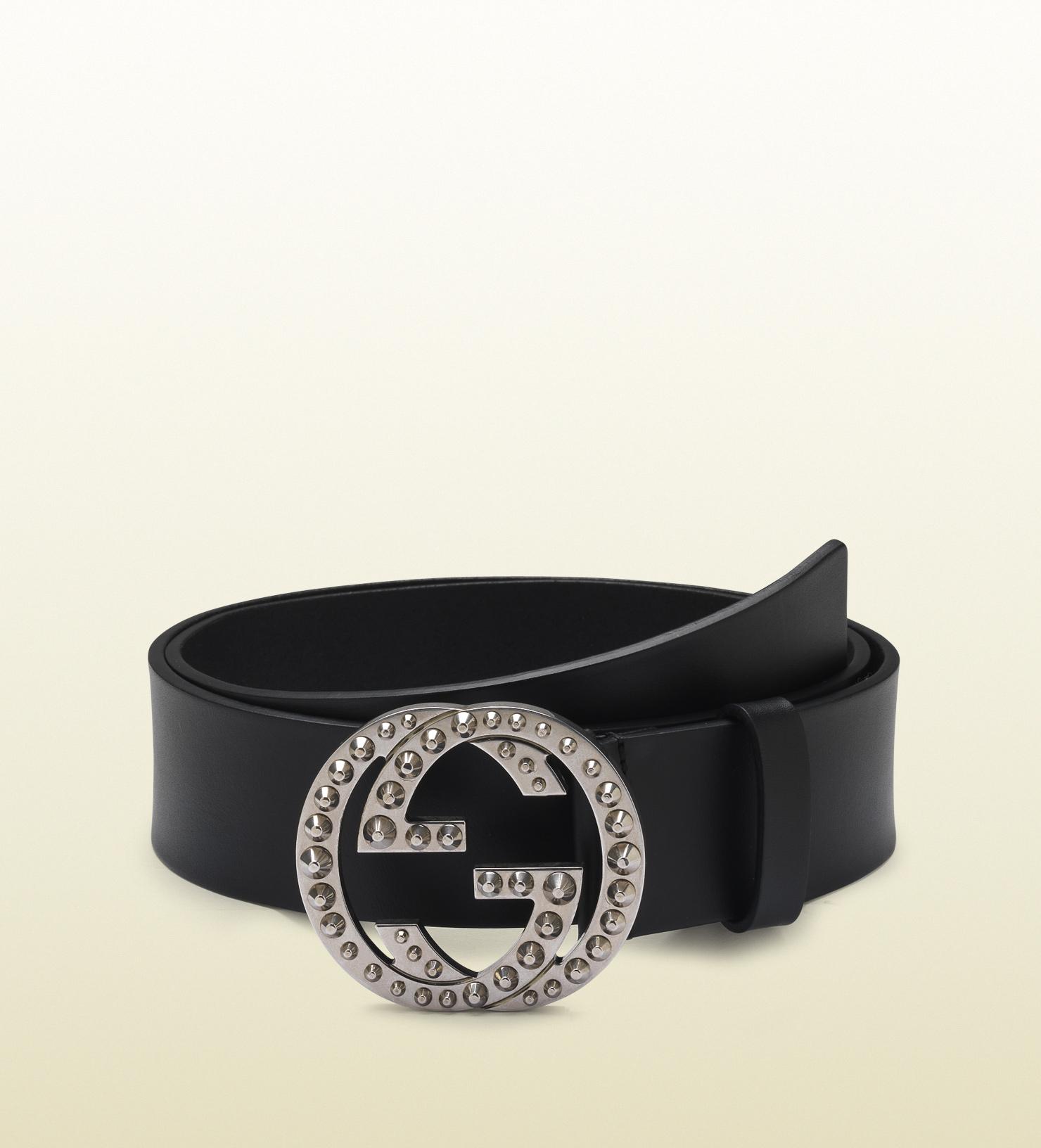 2642deb0712 Lyst - Gucci Black Leather Belt with Studded Interlocking G Buckle ...