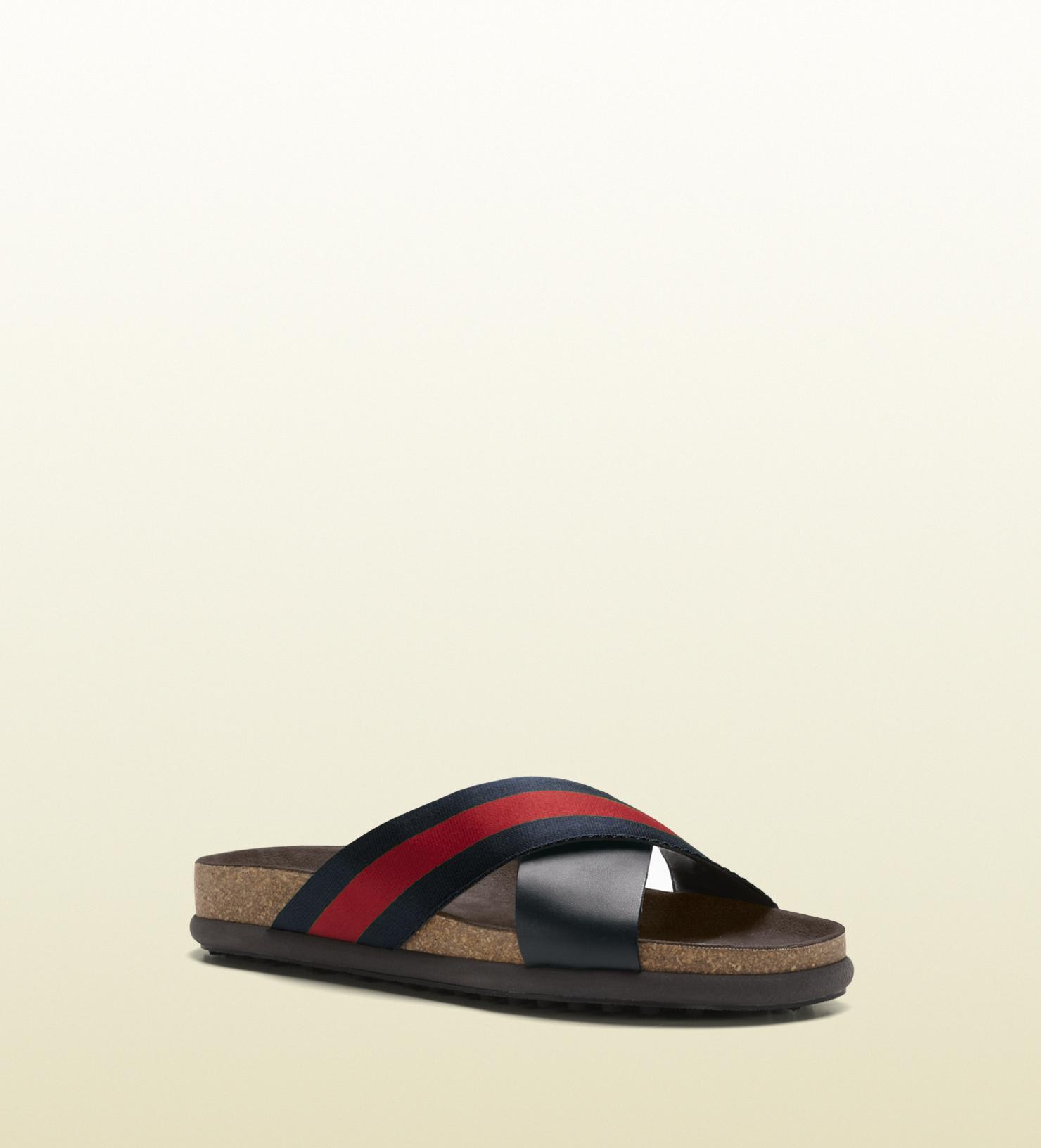 67f42471583f41 Lyst - Gucci Signature Web Slide Sandal in Blue for Men