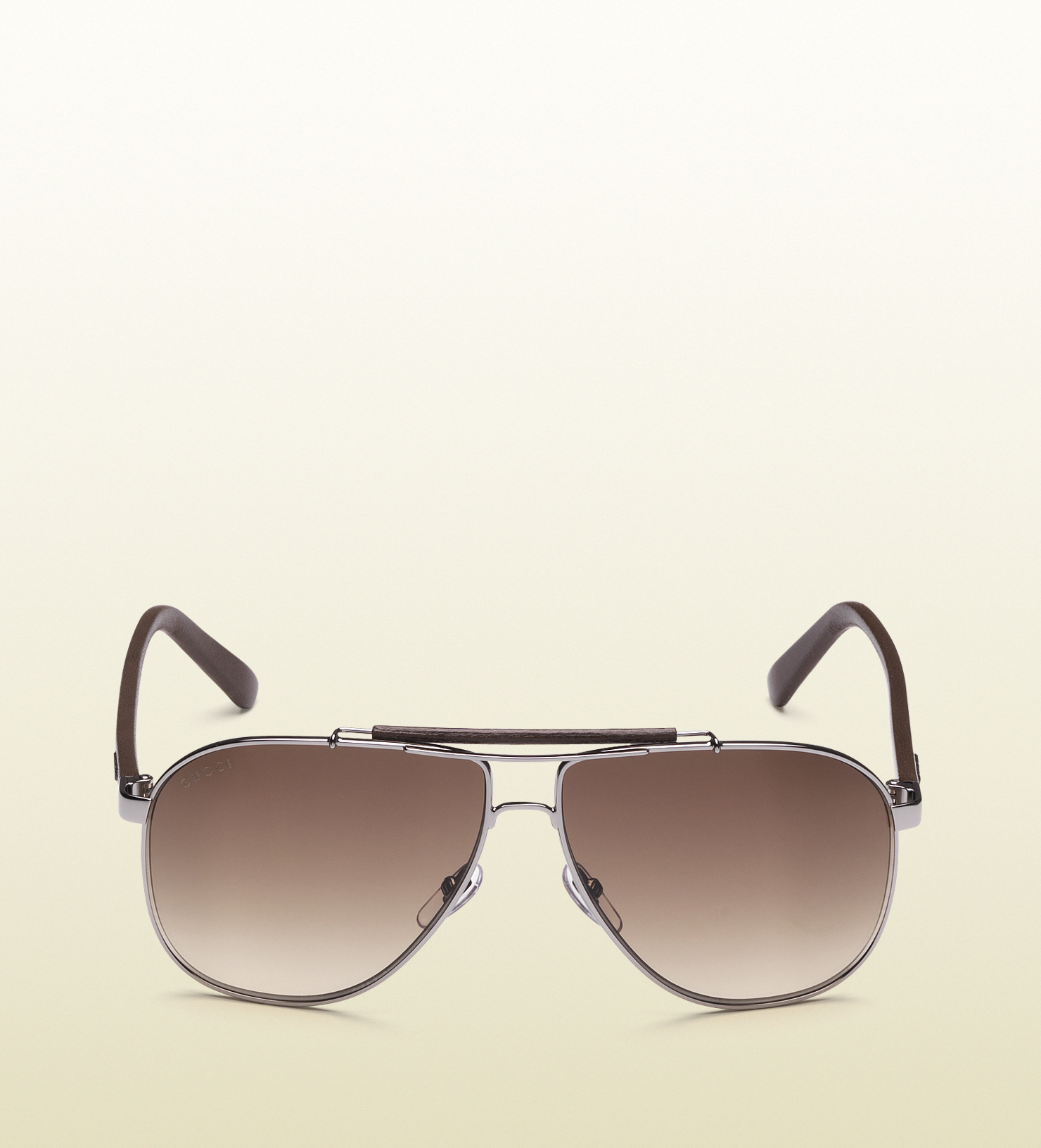 92d88e83b39 Gucci Aviator Sunglasses with Leather Brow Bar and Temples with Gucci Logo  in Brown for Men