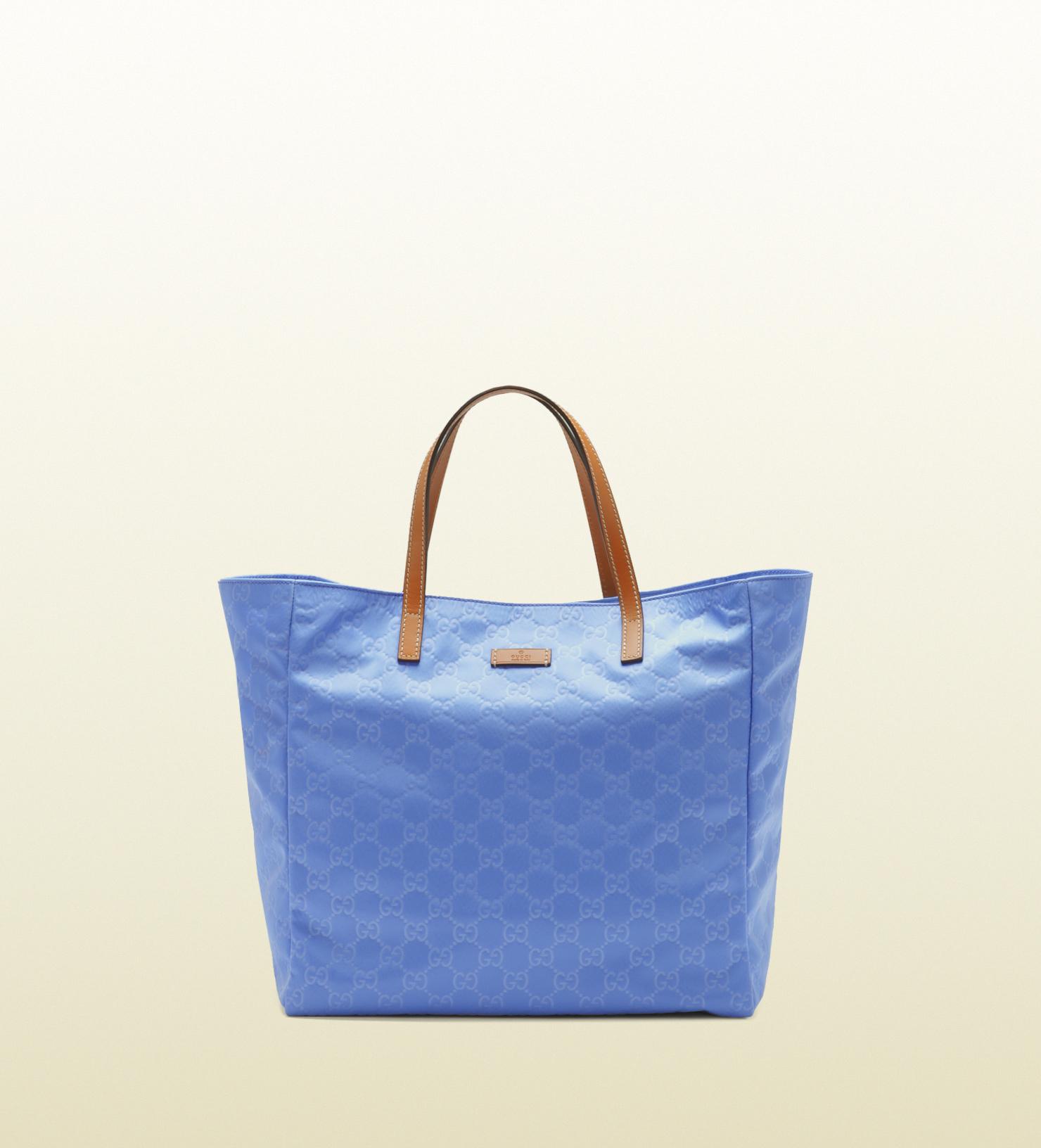 528ec603e4d Lyst - Gucci Small Periwinkle Nylon Guccissima Tote in Blue