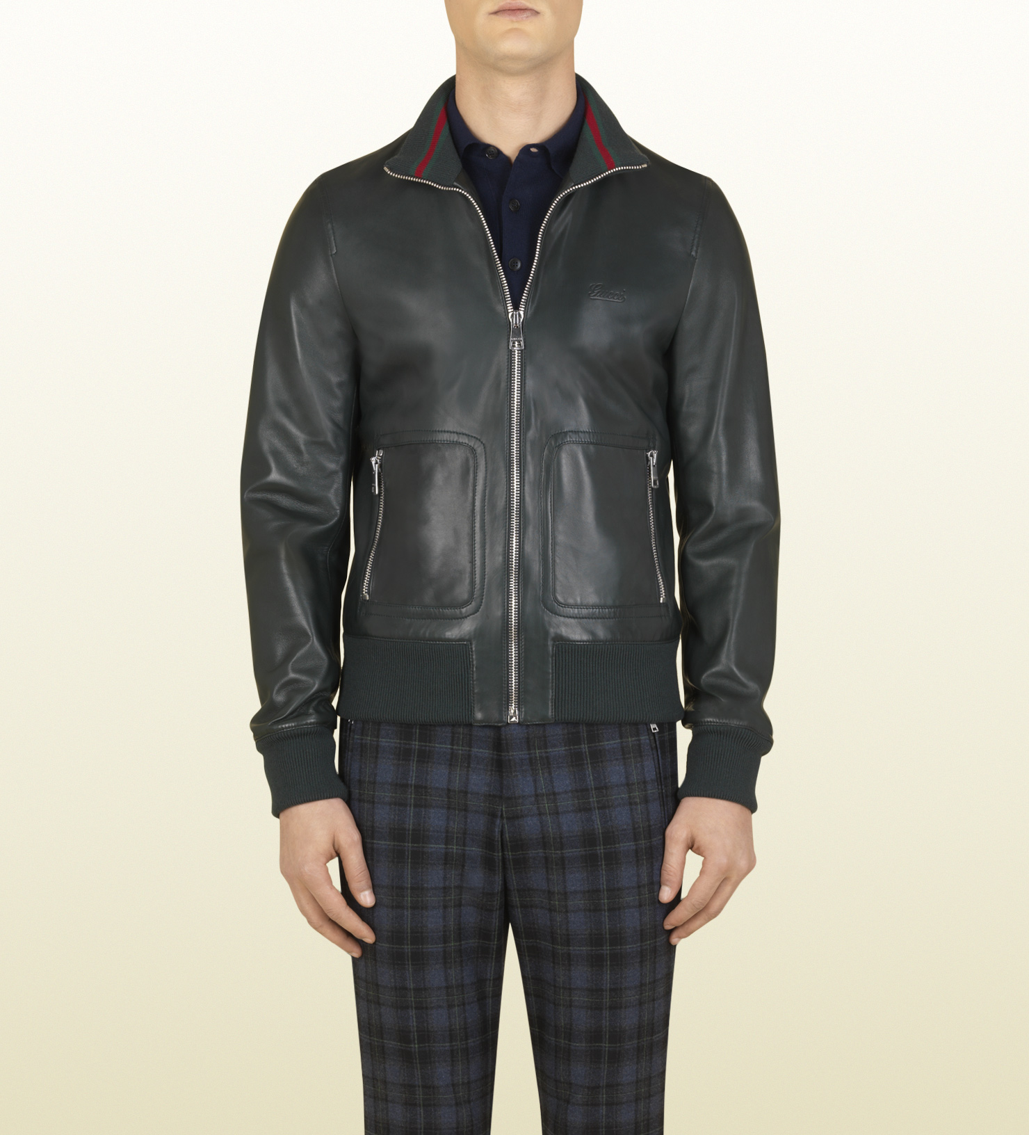 lyst gucci dark green plonge leather bomber jacket in