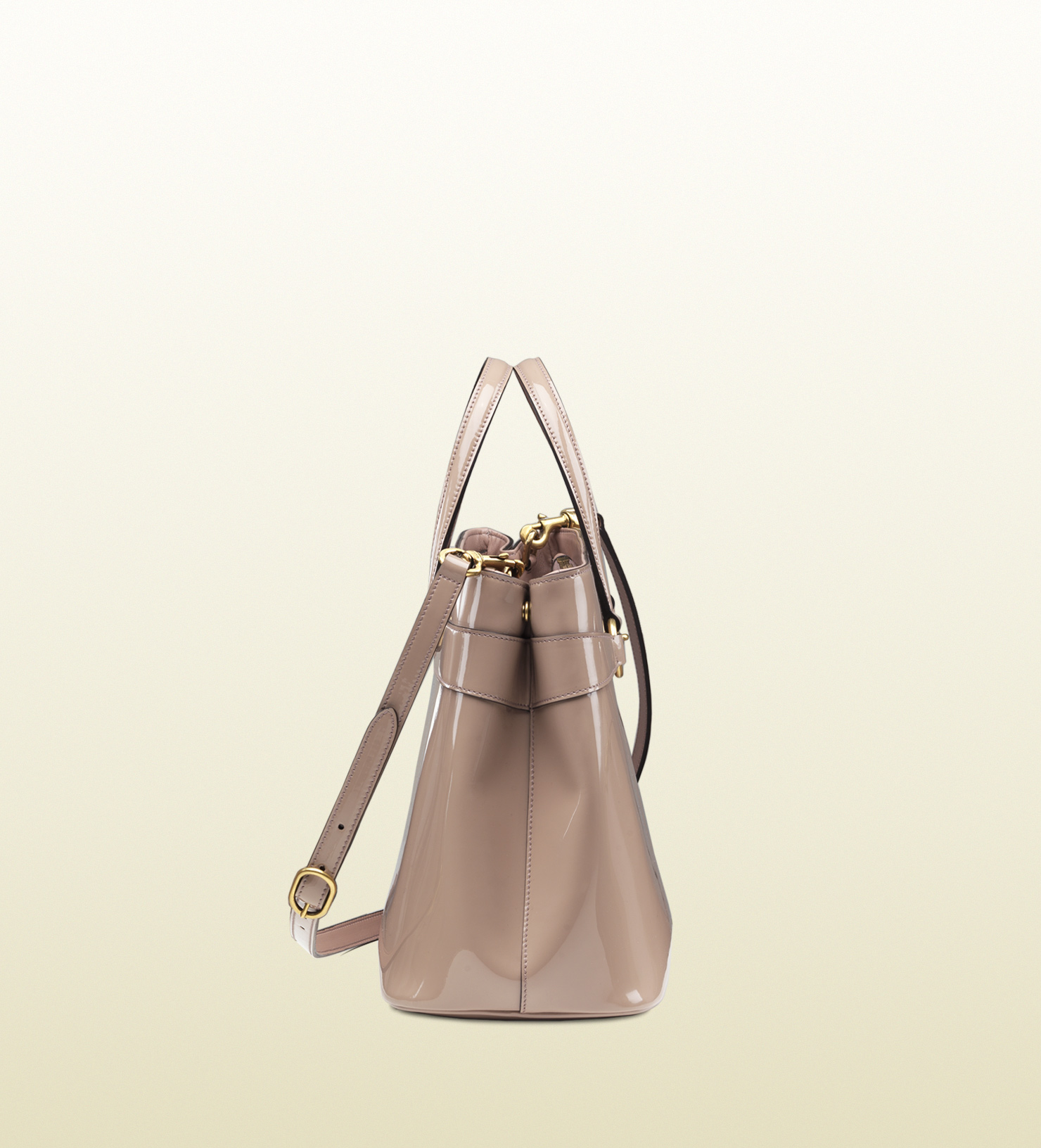 003a28fdae1 Lyst - Gucci Bright Bit Patent Leather Top Handle Bag in Pink