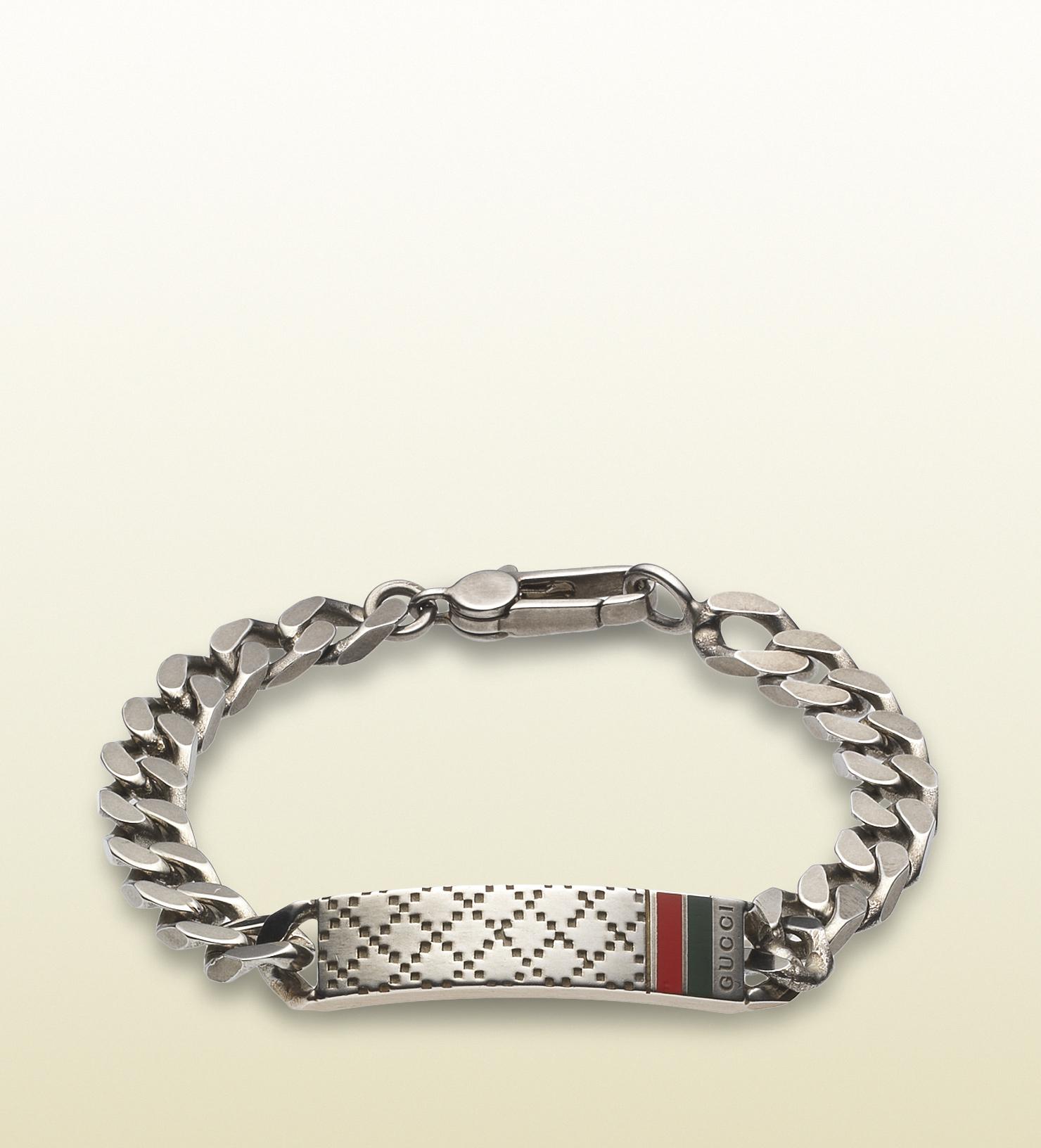 gucci diamante motif id bracelet in metallic for lyst