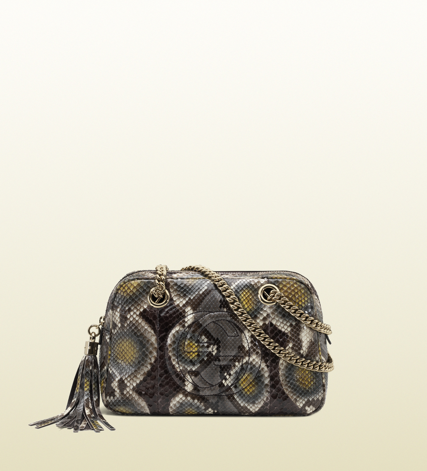 b509956b72c Gucci Soho Python Shoulder Bag with Double Chain Straps in Yellow - Lyst