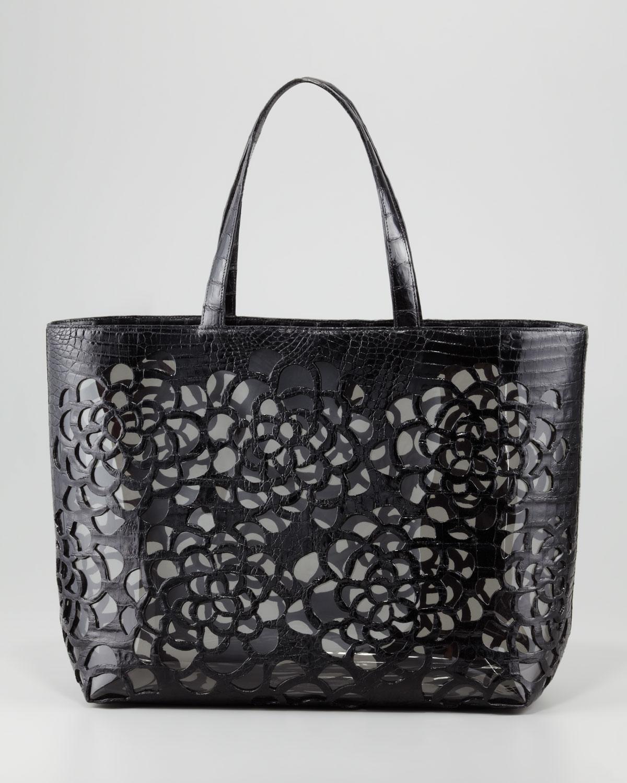 Lyst Nancy Gonzalez Crocodile Cutout Tote Bag Black In Black