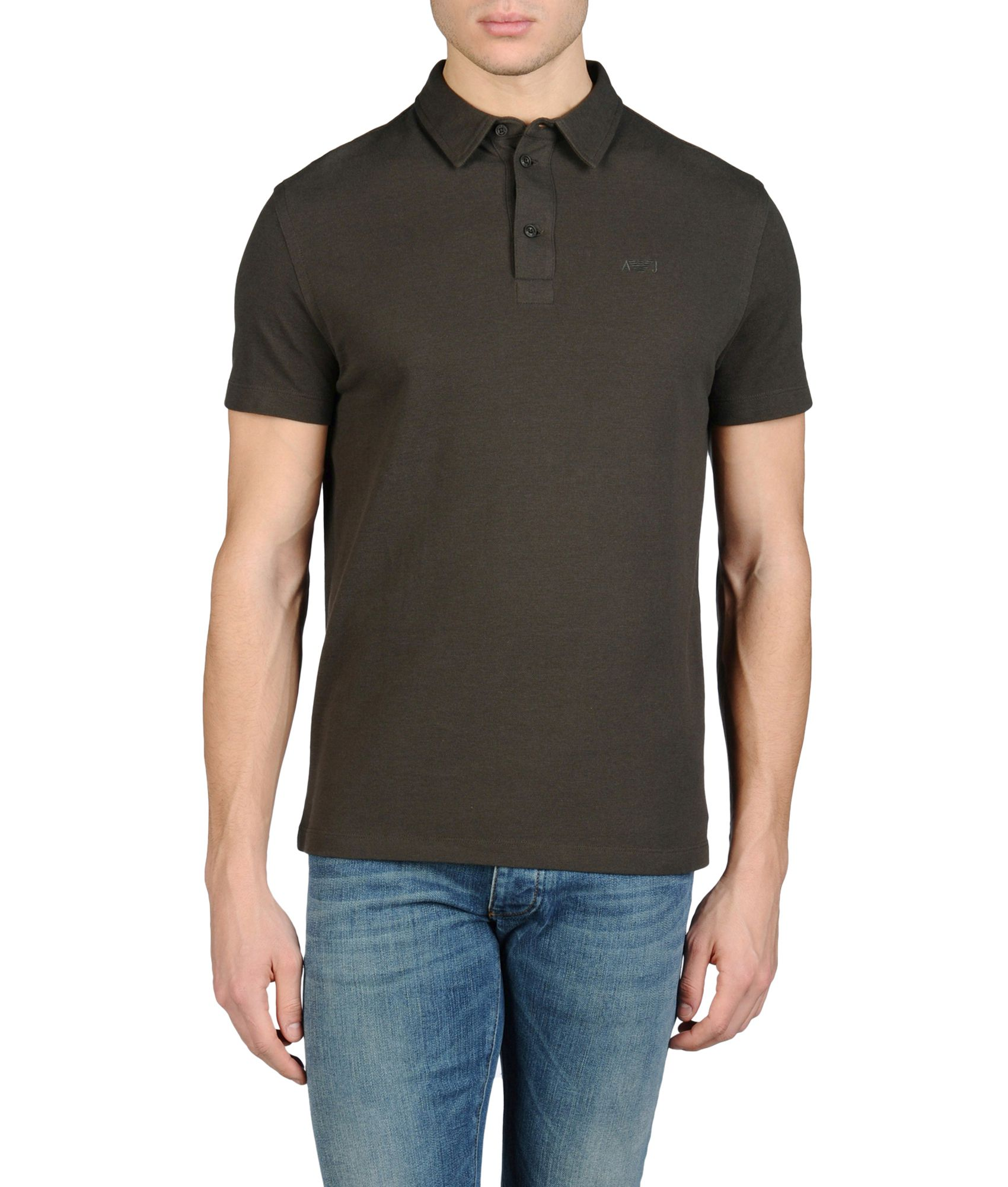 Armani jeans short sleeved polo shirt in creased piqu in for Dark green mens polo shirt