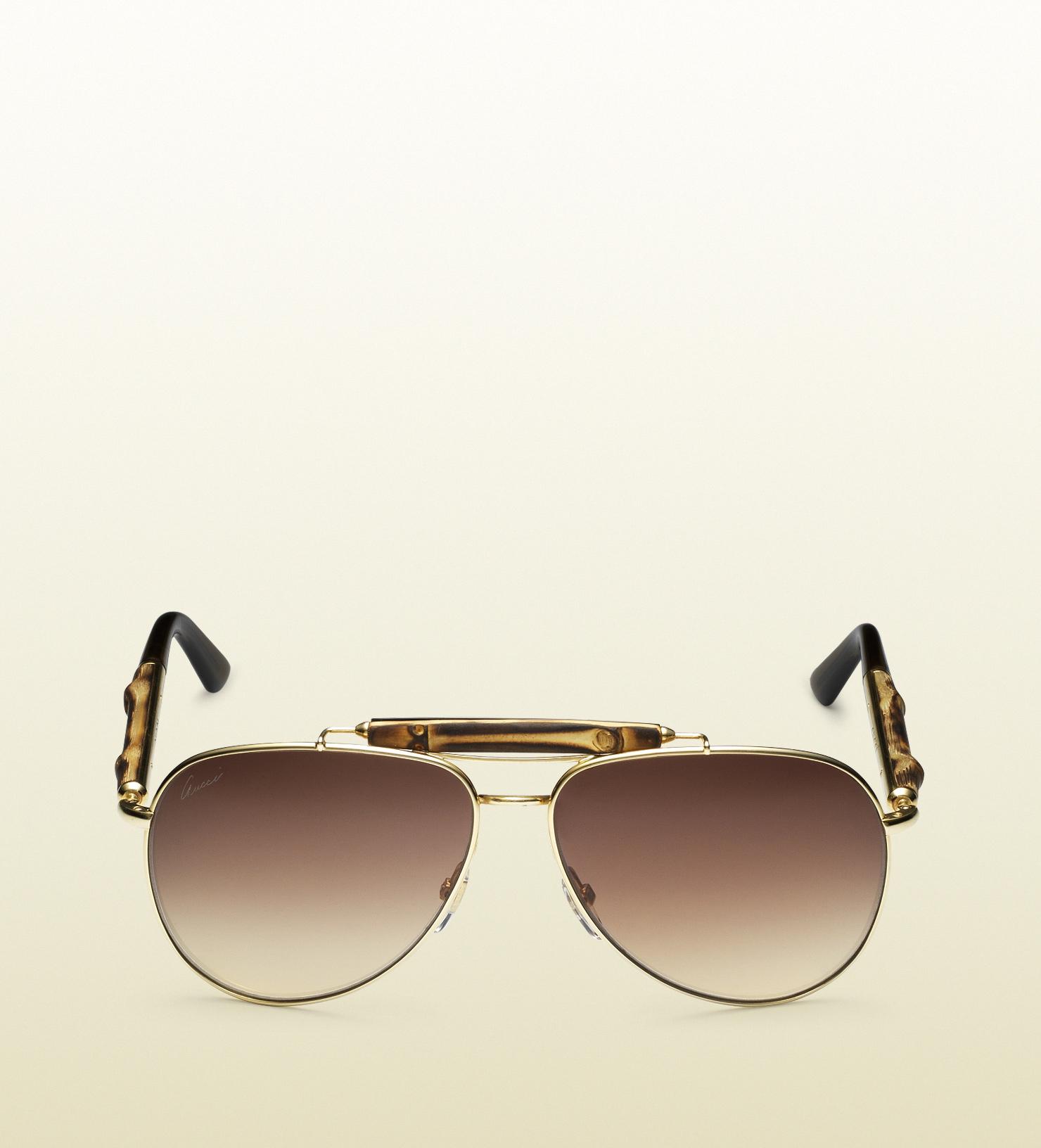 Gucci Bamboo Aviator Sunglasses In Brown Lyst