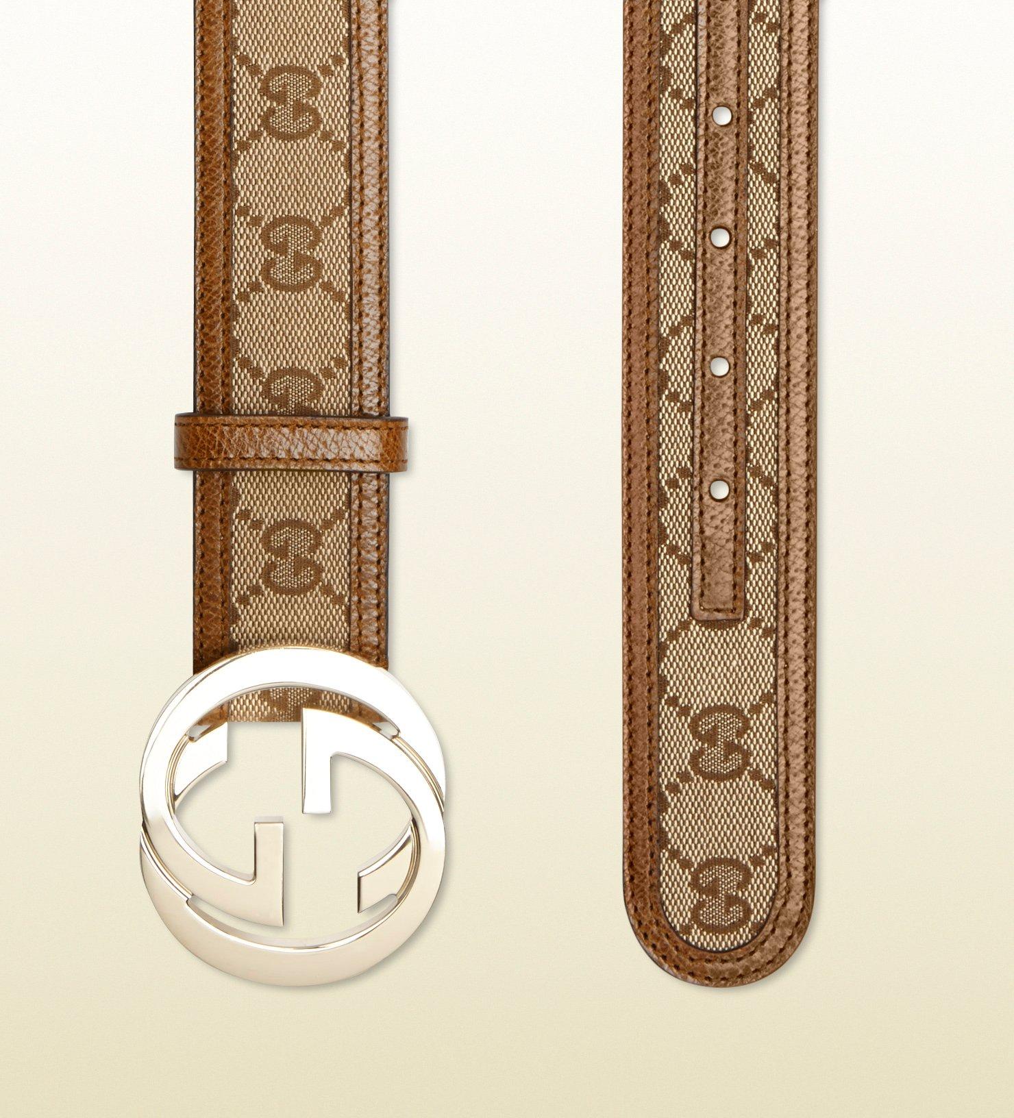 ef78eee1174 Lyst - Gucci Original Gg Canvas Belt With Interlocking G Buckle in ...