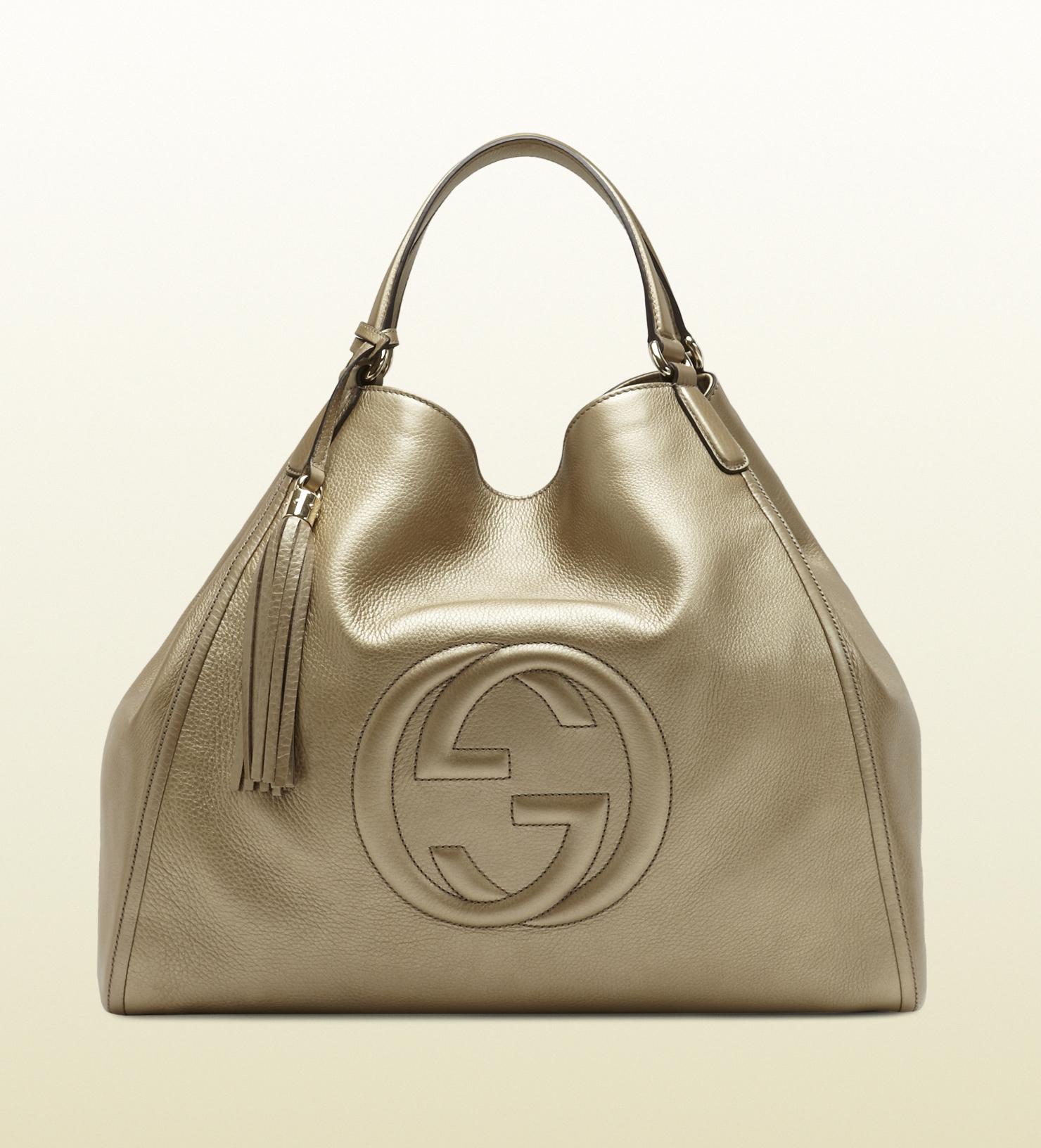 gucci soho metallic leather shoulder bag in green