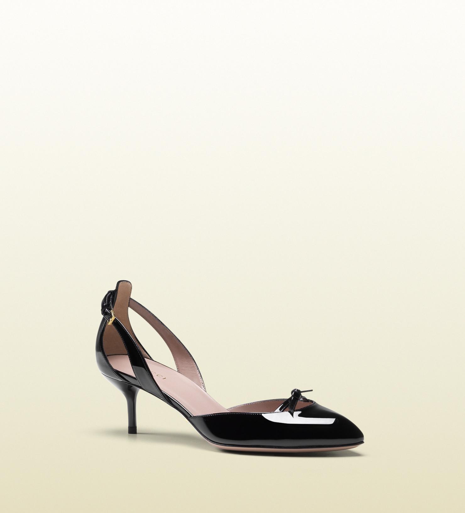 bd7aca53ad40 Lyst - Gucci Black Patent Leather Mid-heel Pump in Black