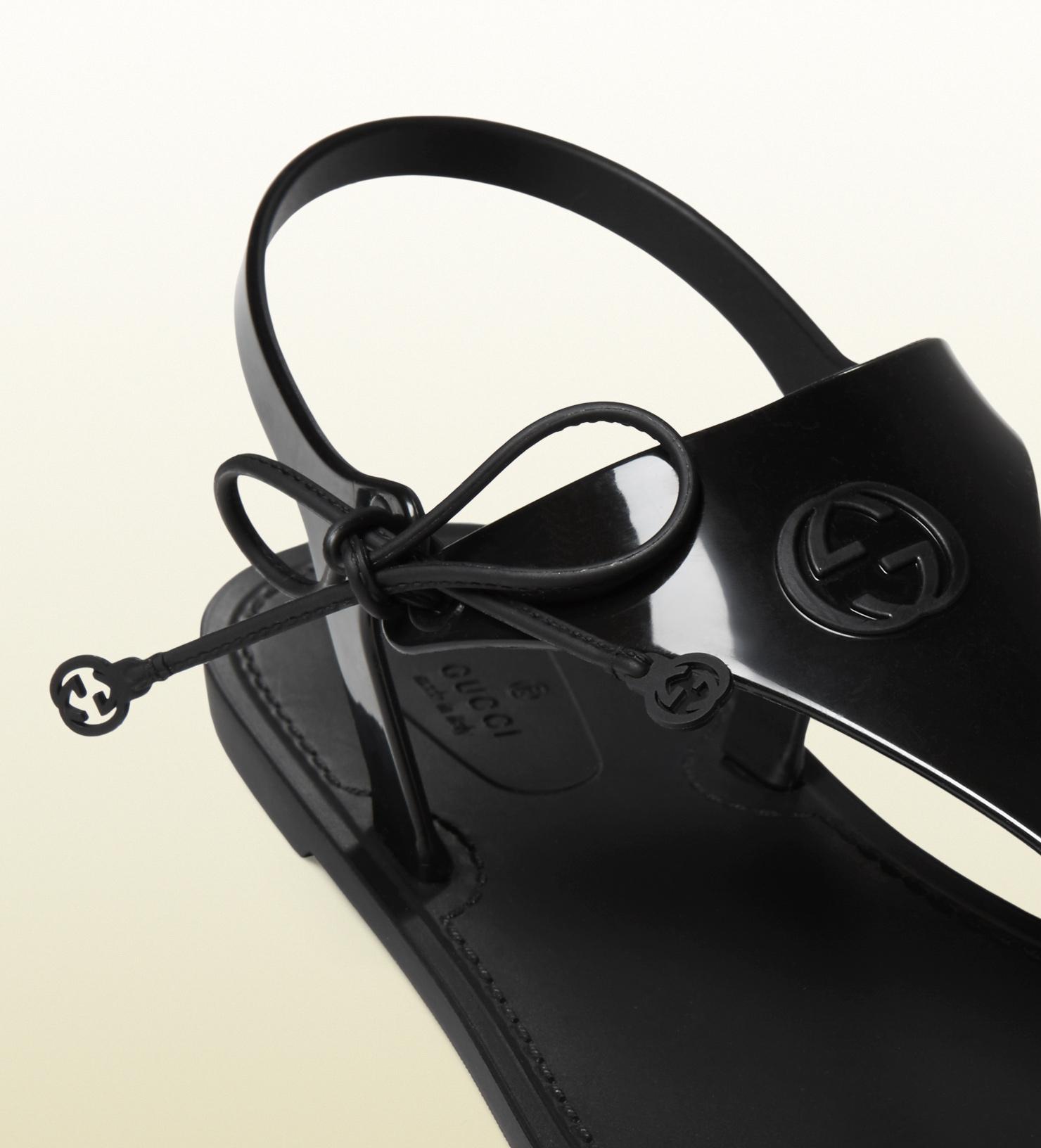 05d159666 Gucci Katina Bio-plastic Rubber Thong Sandal in Black - Lyst