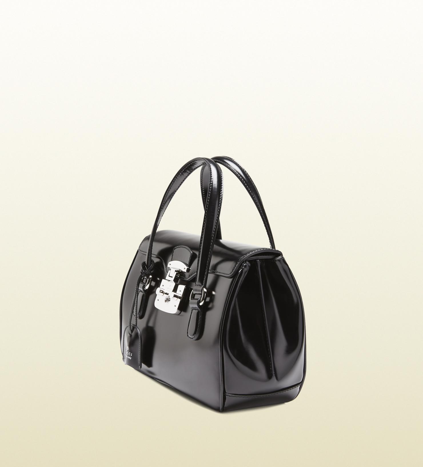 2f6b35c4198 Lyst - Gucci Lady Lock Leather Top Handle Bag in Black
