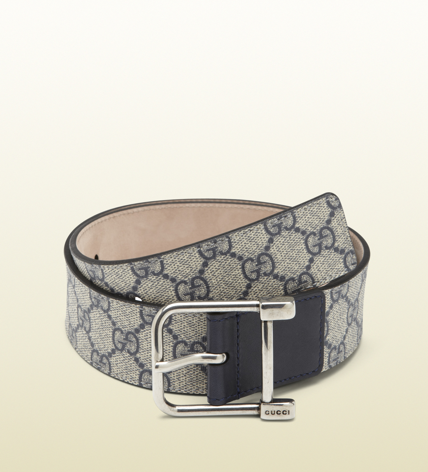 gucci original gg canvas belt with spur buckle in blue