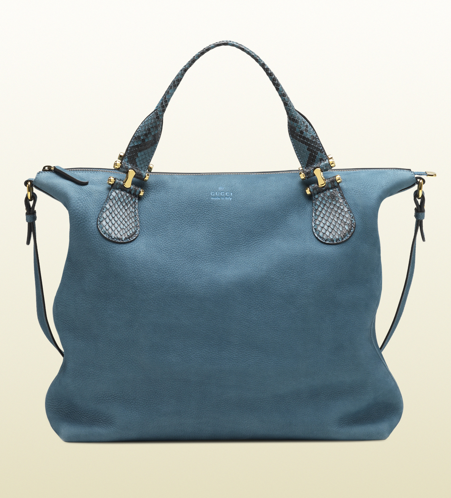Gucci Twice Suede and Python Shoulder Bag in Blue - Lyst