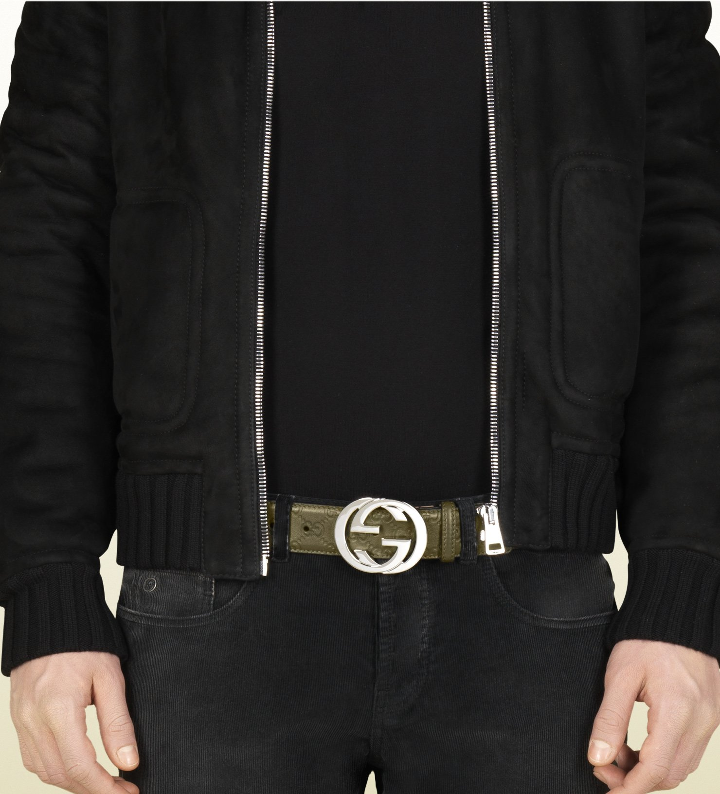 035ada822 Gucci Guccissima Leather Belt with Interlocking G Buckle in Green ...
