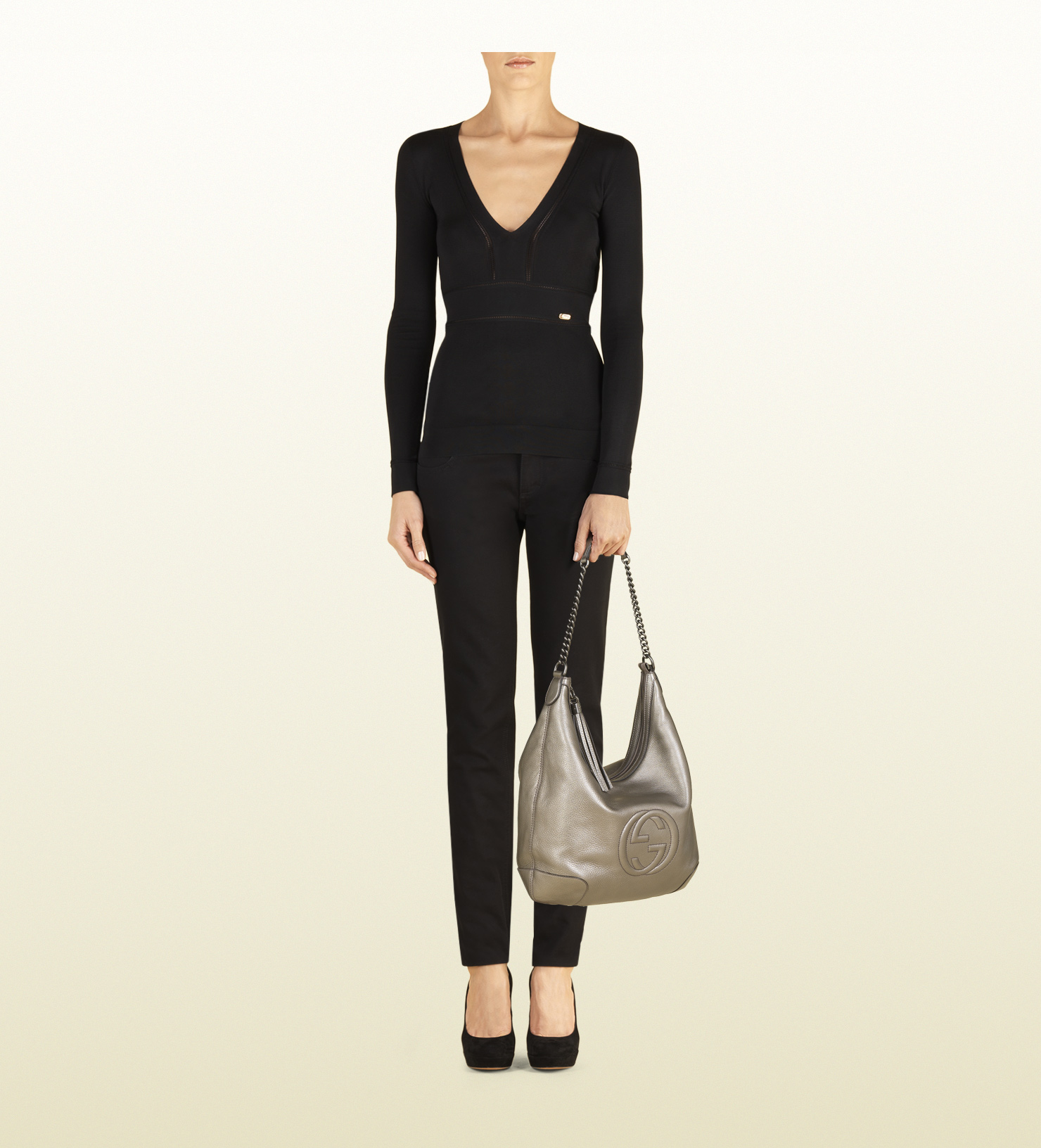 ad799e99912f0 Lyst - Gucci Soho Metallic Leather Chain Shoulder Bag in Gray