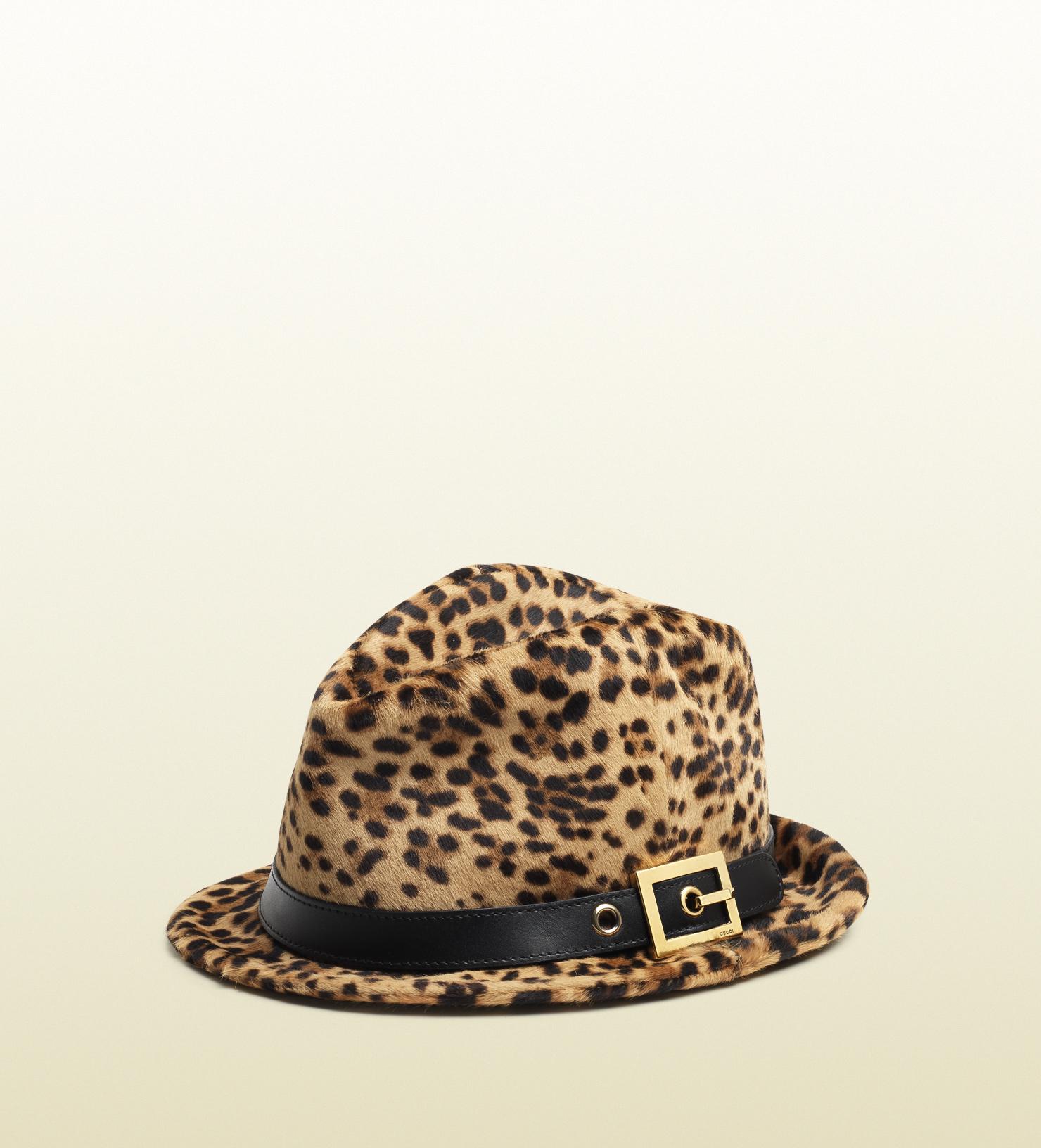 a389686beea30 Gucci - Multicolor Jaguar Printed Leather Fedora for Men - Lyst