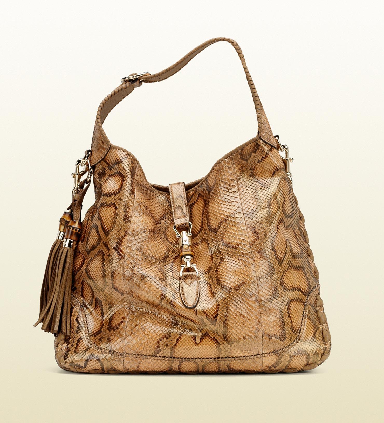 ab47ec75ce1c Lyst - Gucci New Jackie Python Shoulder Bag