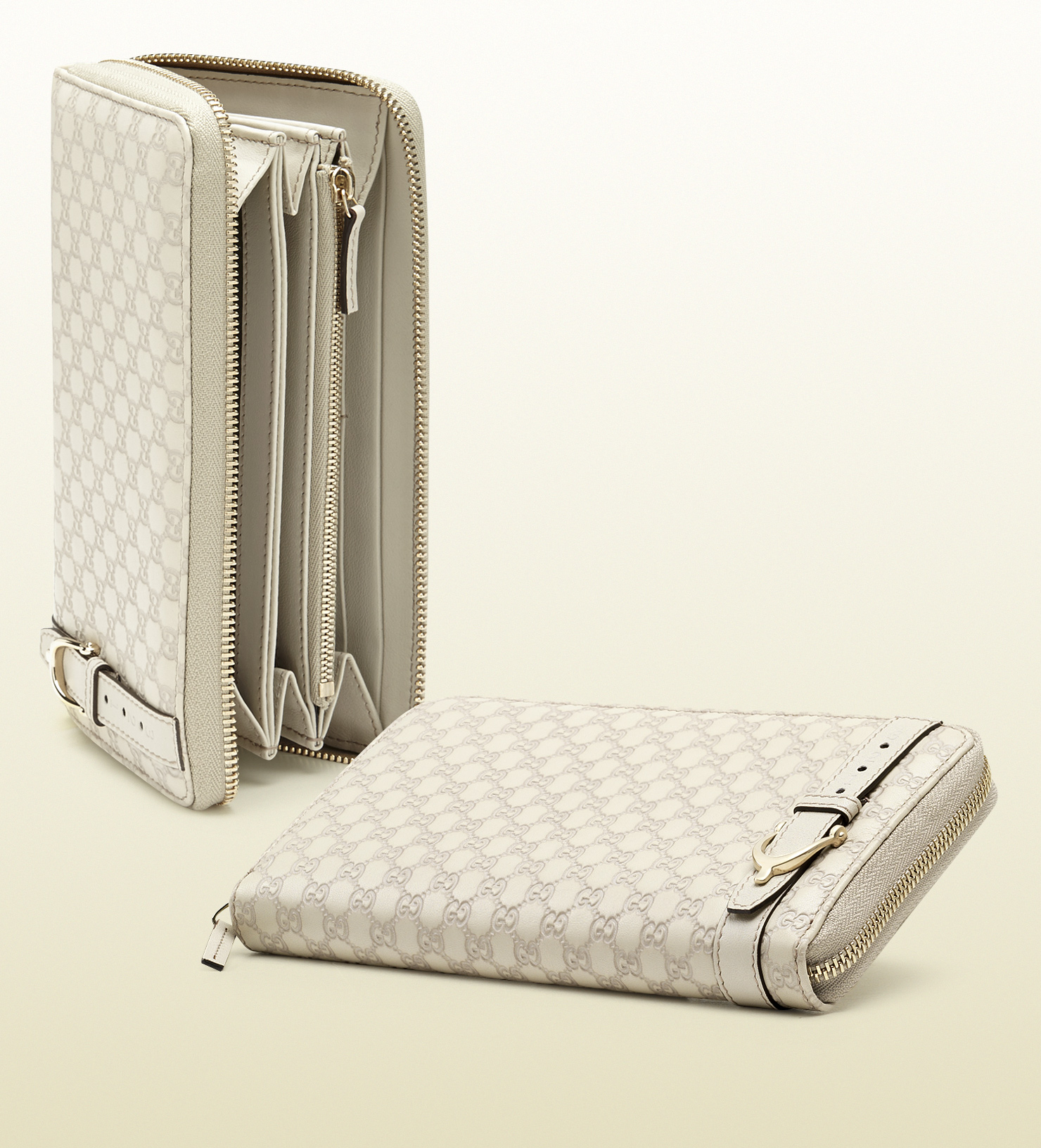Gucci Nice Microssima Leather Zip Around Wallet in White ...