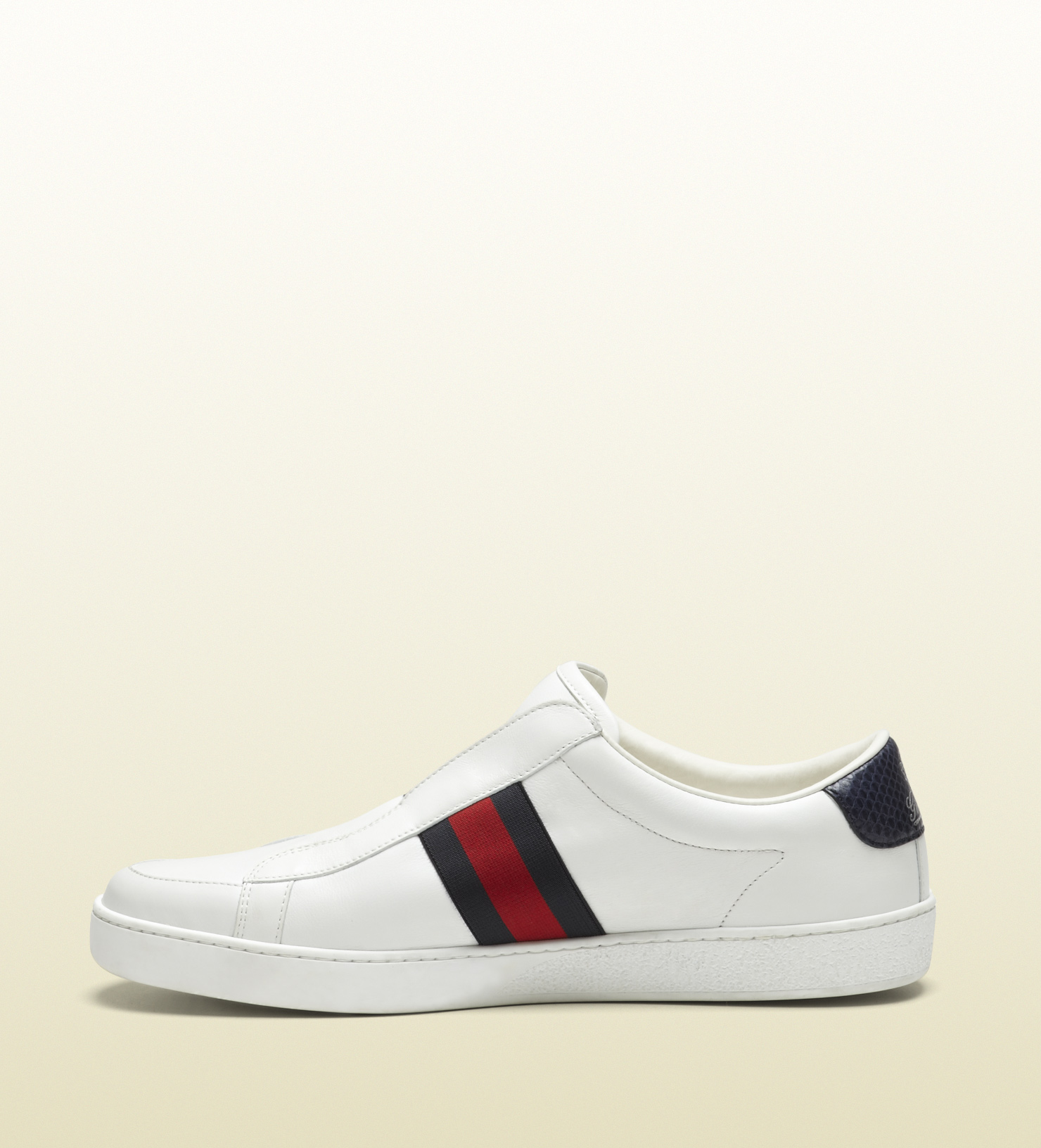Gucci White Leather Slip-on Sneaker for