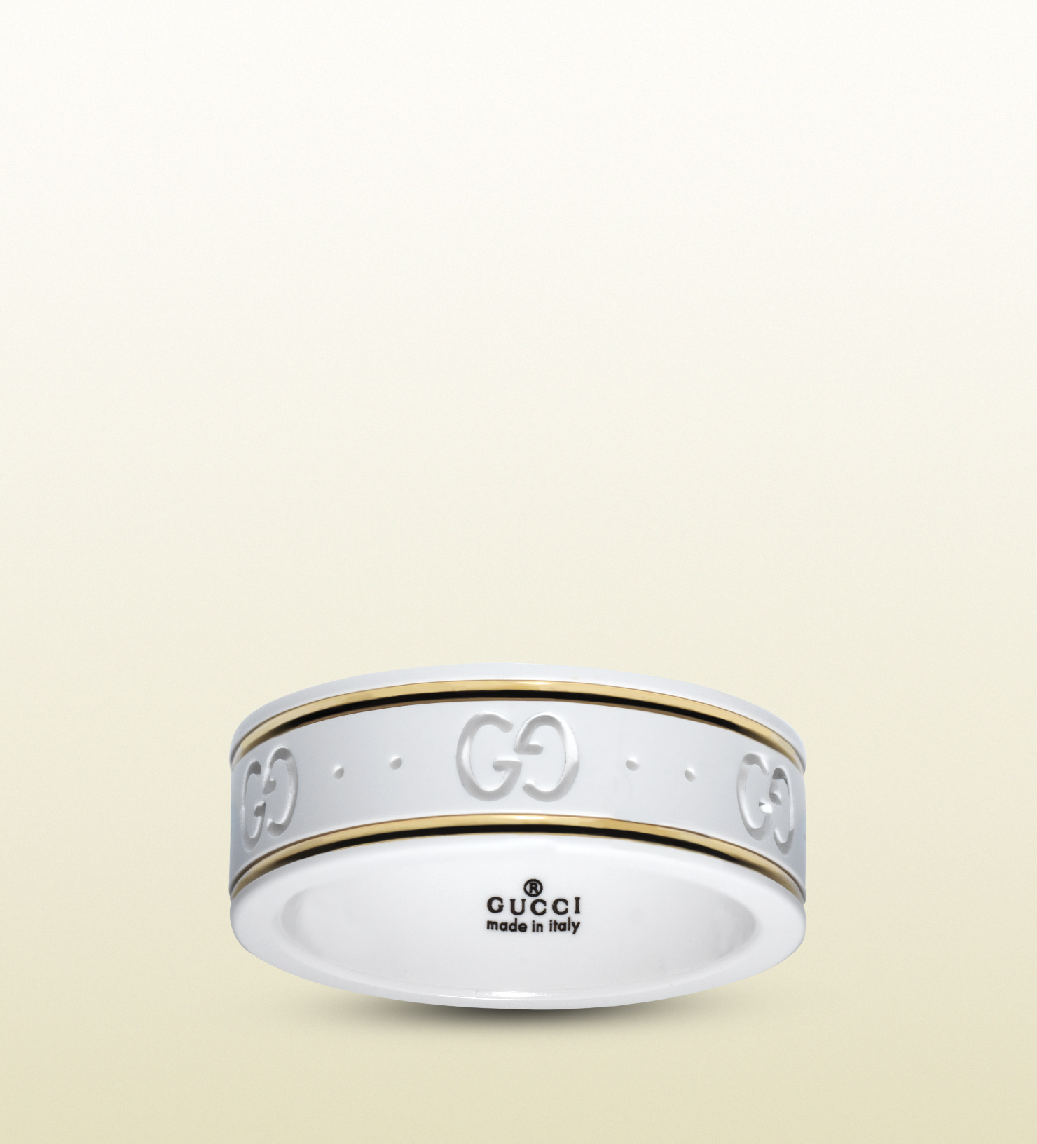 4a847c8dfd2 Lyst - Gucci Icon Ring In Yellow Gold And White Zirconia Powder in ...