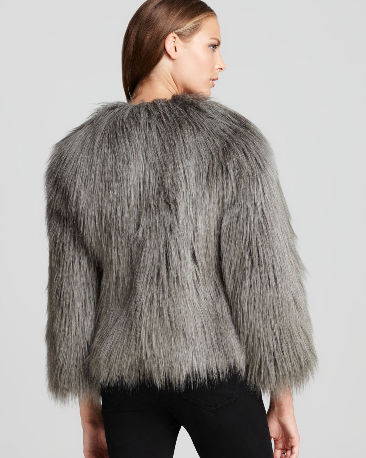 Guess Felicia Faux Fur Jacket In Grey Gray Lyst