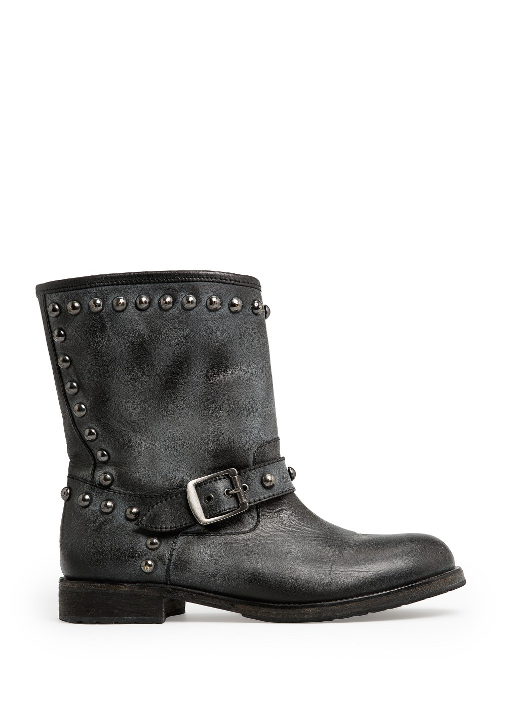 mango rounded studs leather boots in black lyst
