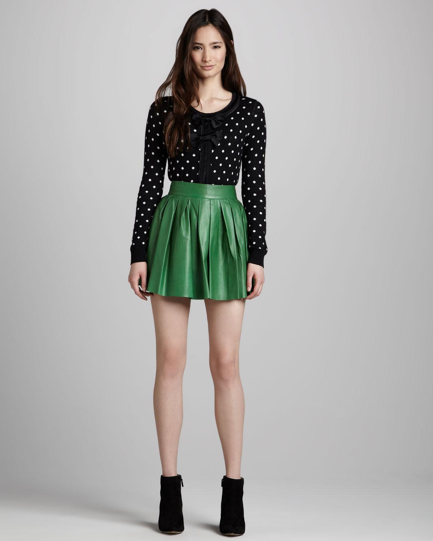 Green leather mini skirt – Modern skirts blog for you