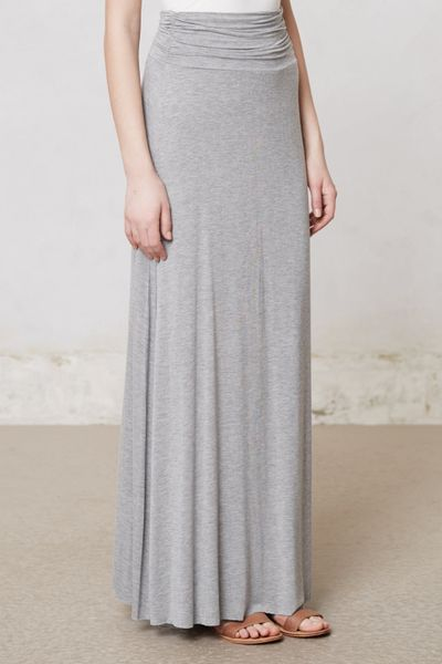 anthropologie pinpoint maxi skirt in gray grey lyst