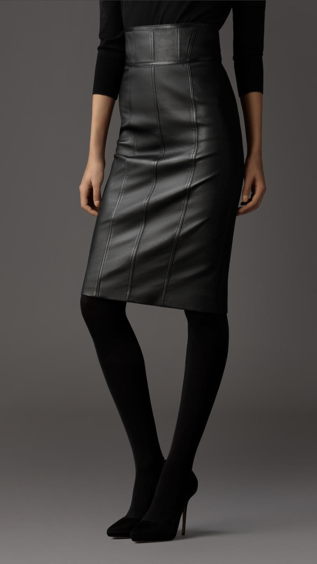 lyst burberry leather pencil skirt in black