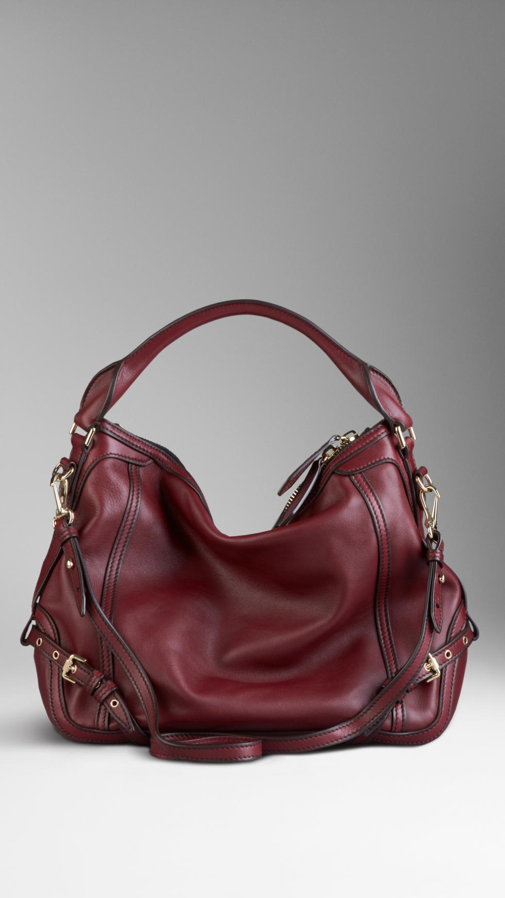 Burberry Small Belt Detail Leather Hobo Bag in Red | Lyst