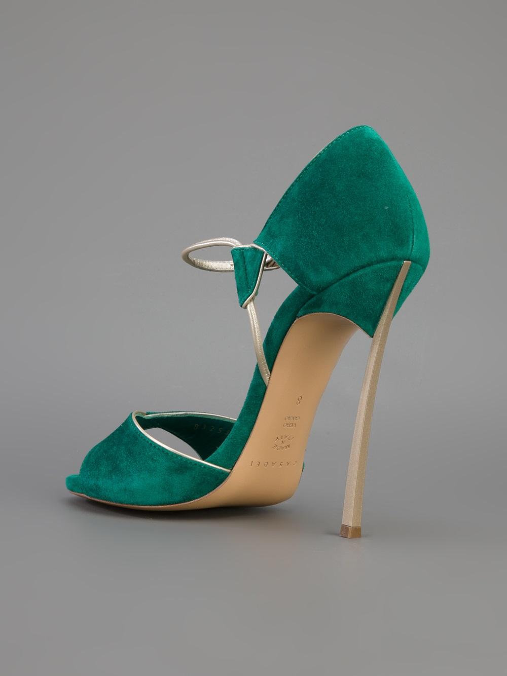 Lyst Casadei Open Toe Sandal In Green