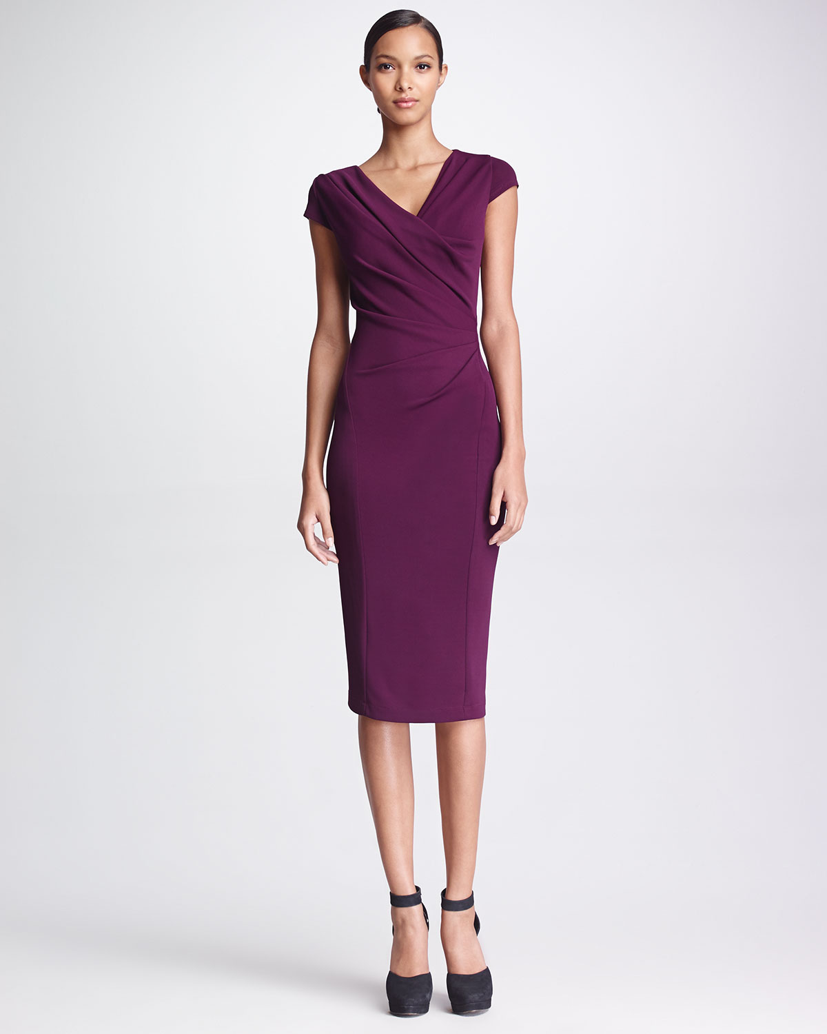 Donna karan new york gathered capsleeve dress amethyst in for Donna karen new york