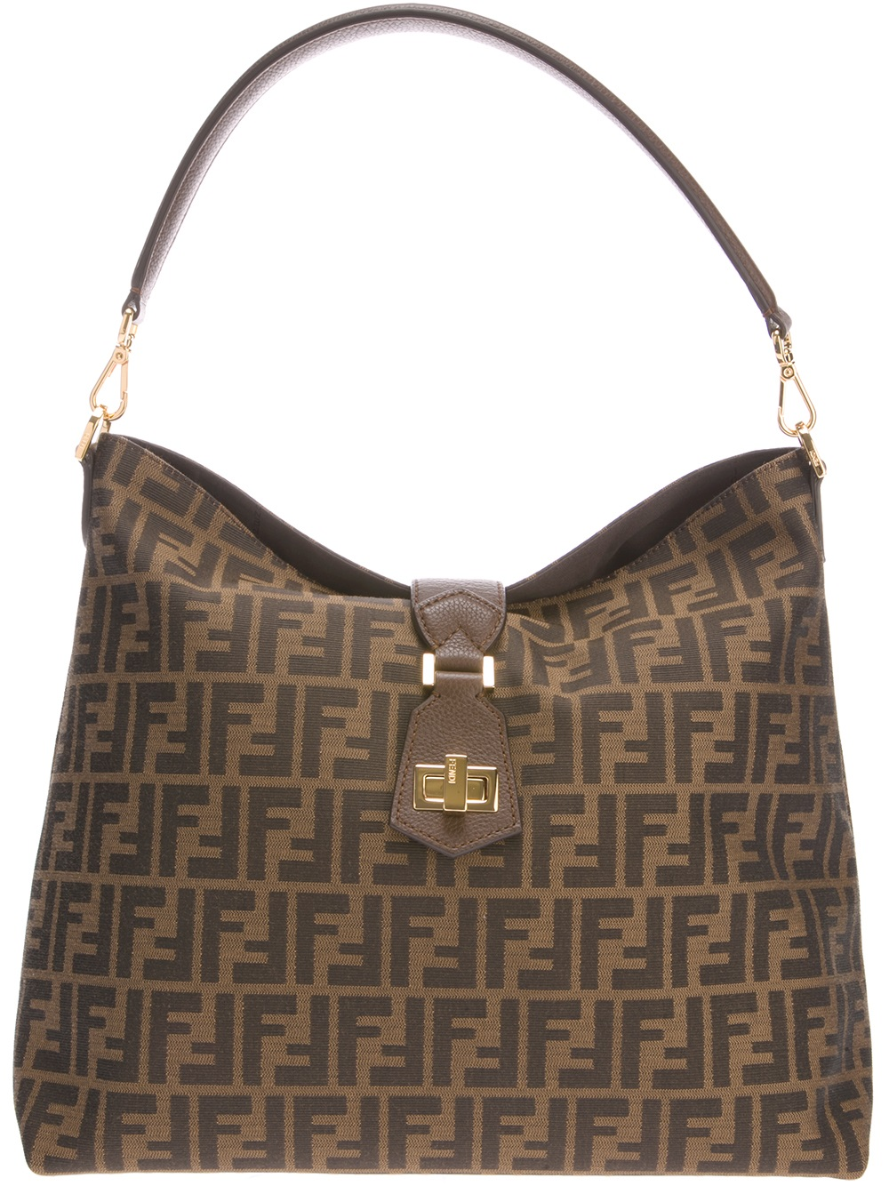 Fendi Classic Hobo Logo Bag in Brown | Lyst
