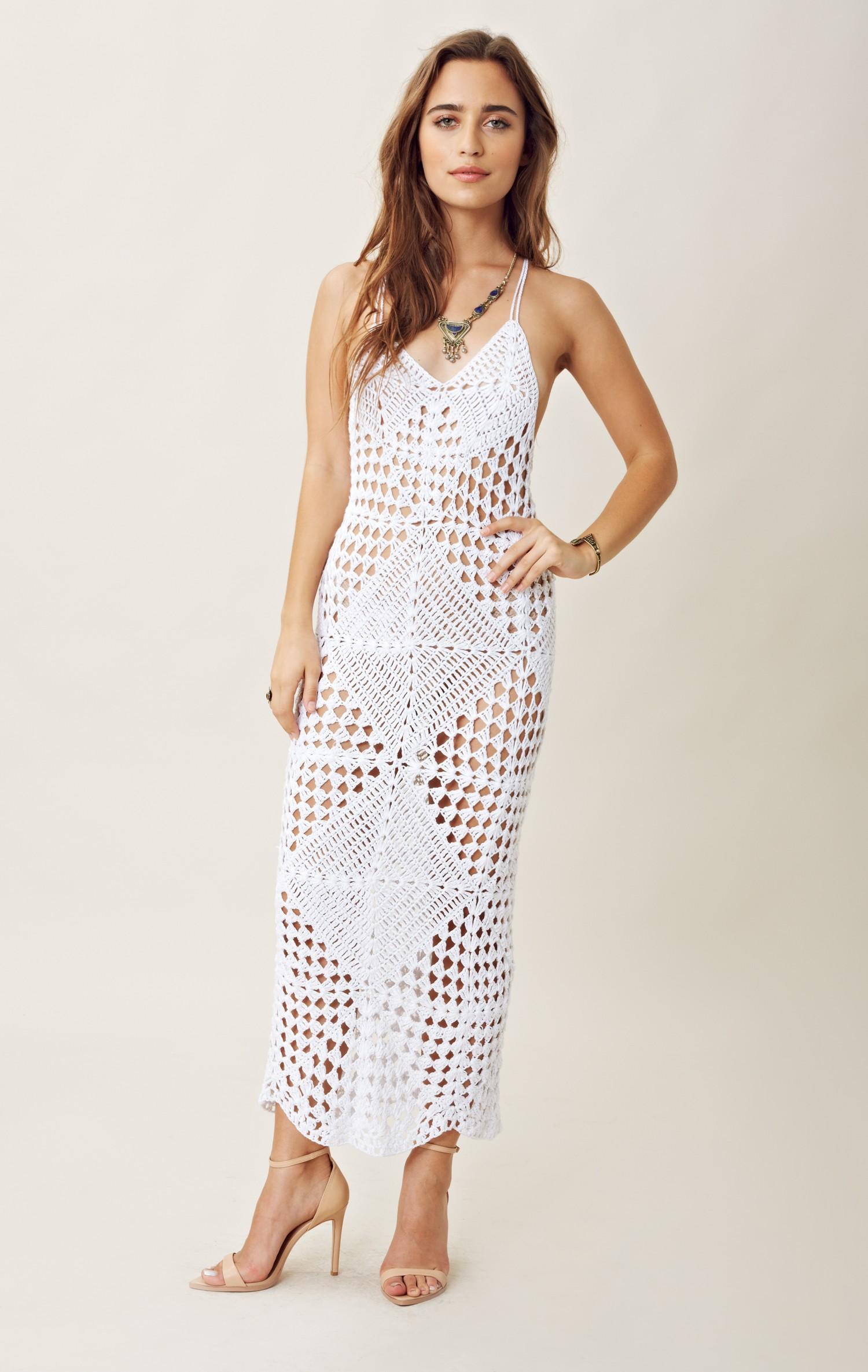 Crochet White Dress : Indah Crochet Maxi Dress in White Lyst