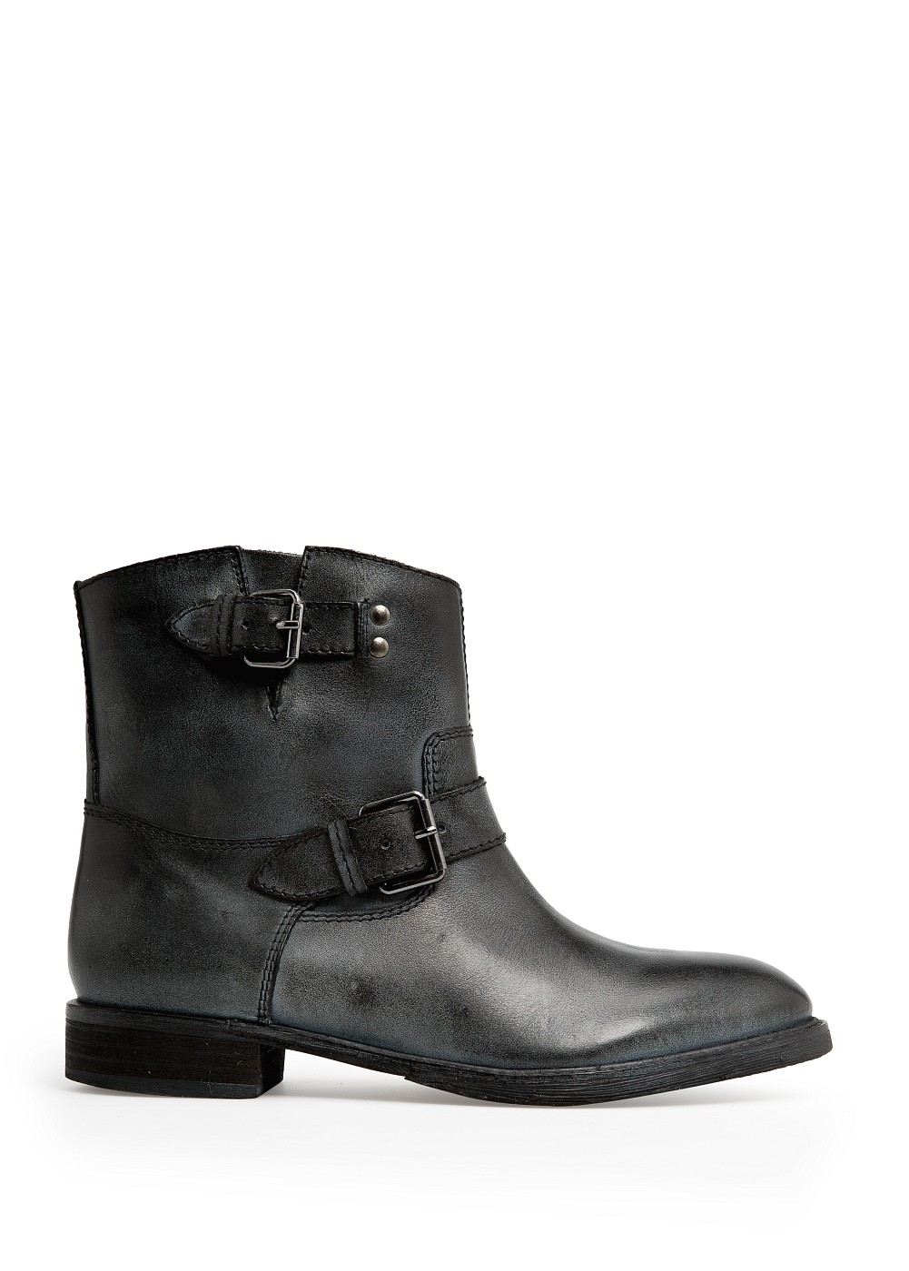 mango buckle leather ankle boots in black lyst