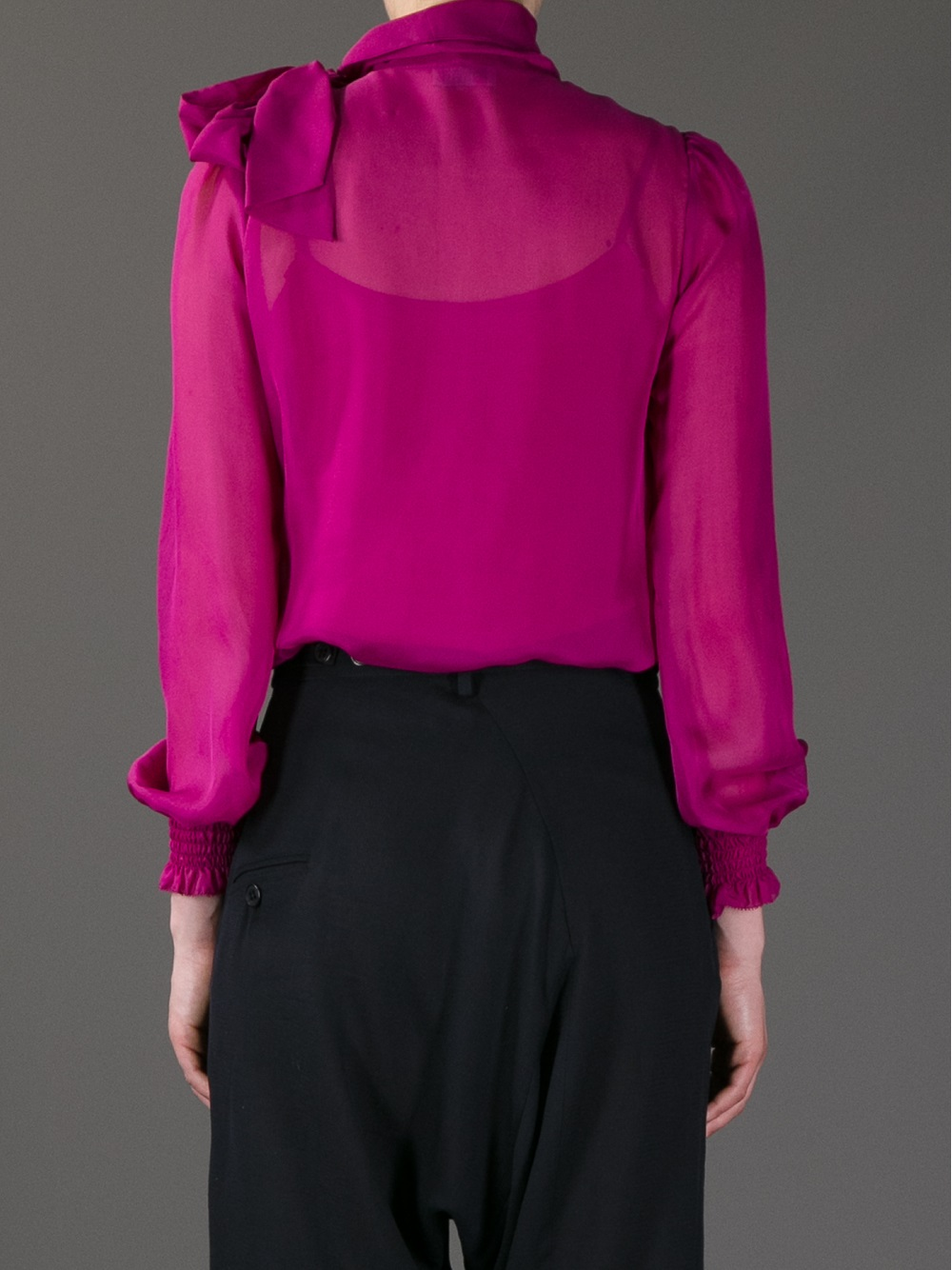Lyst Red Valentino Pussybow Silk Blouse In Pink