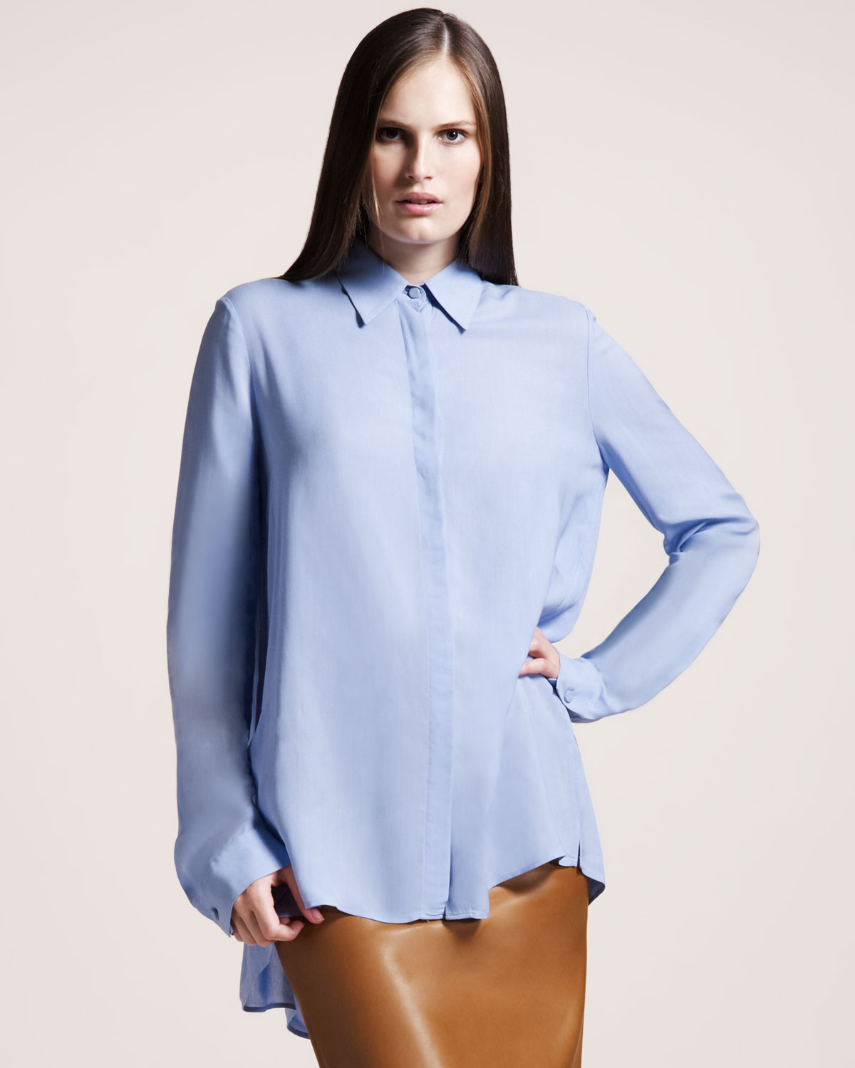 The row Twill Blouse Powder Blue in Blue | Lyst
