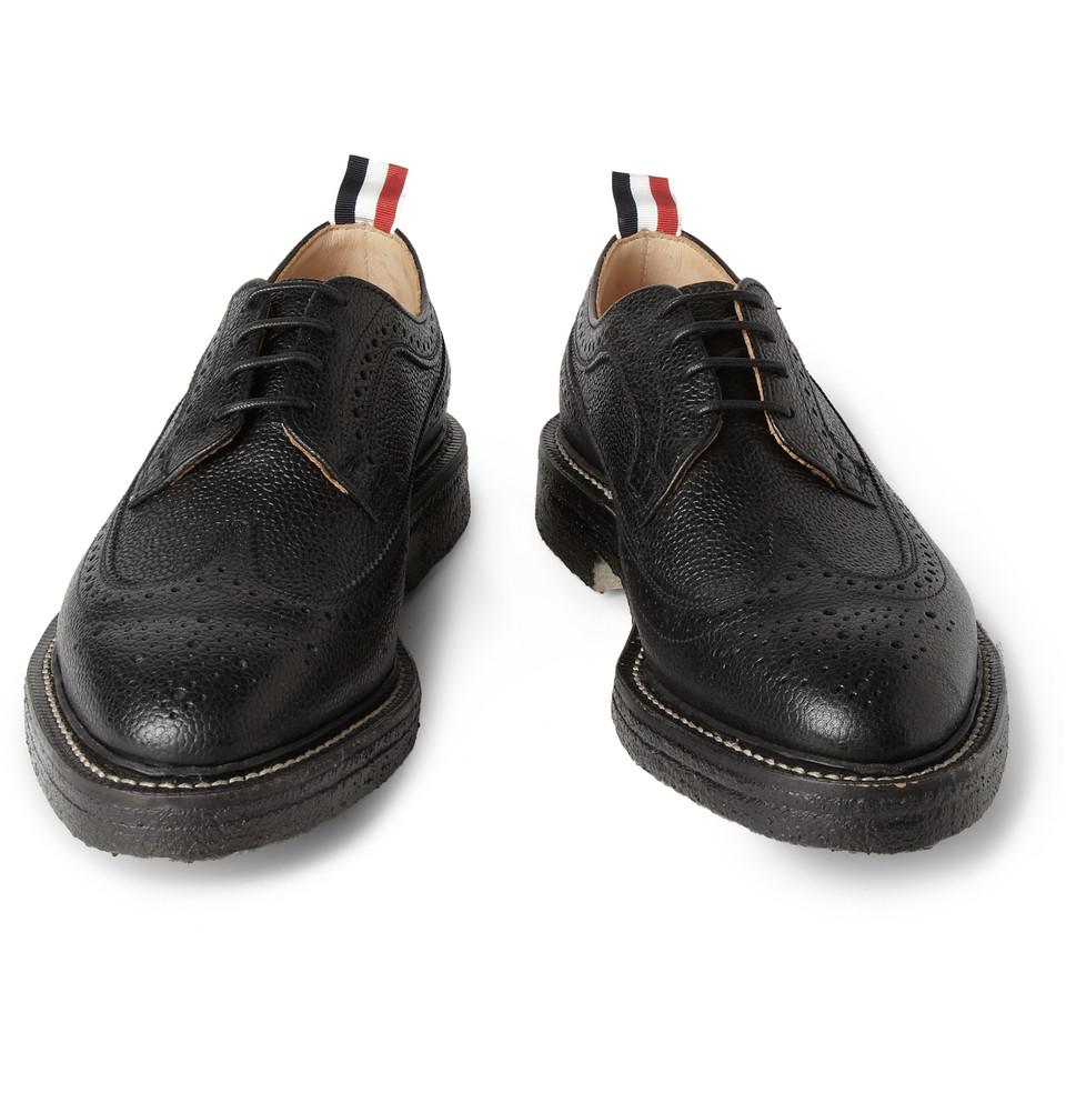 thom browne wingtip oxford brogues black in black for