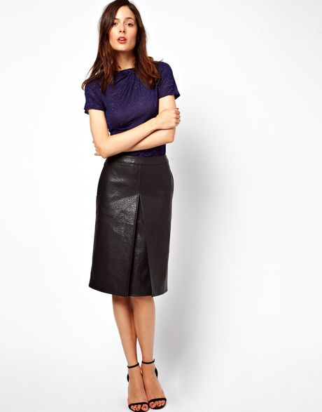 asos a line skirt in leather look in black lyst
