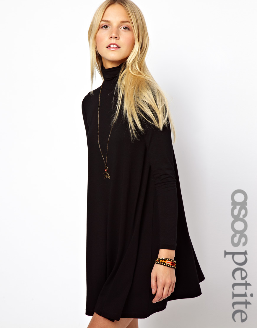 8715e4948ce82 ASOS Exclusive Swing Dress with High Neck in Black - Lyst