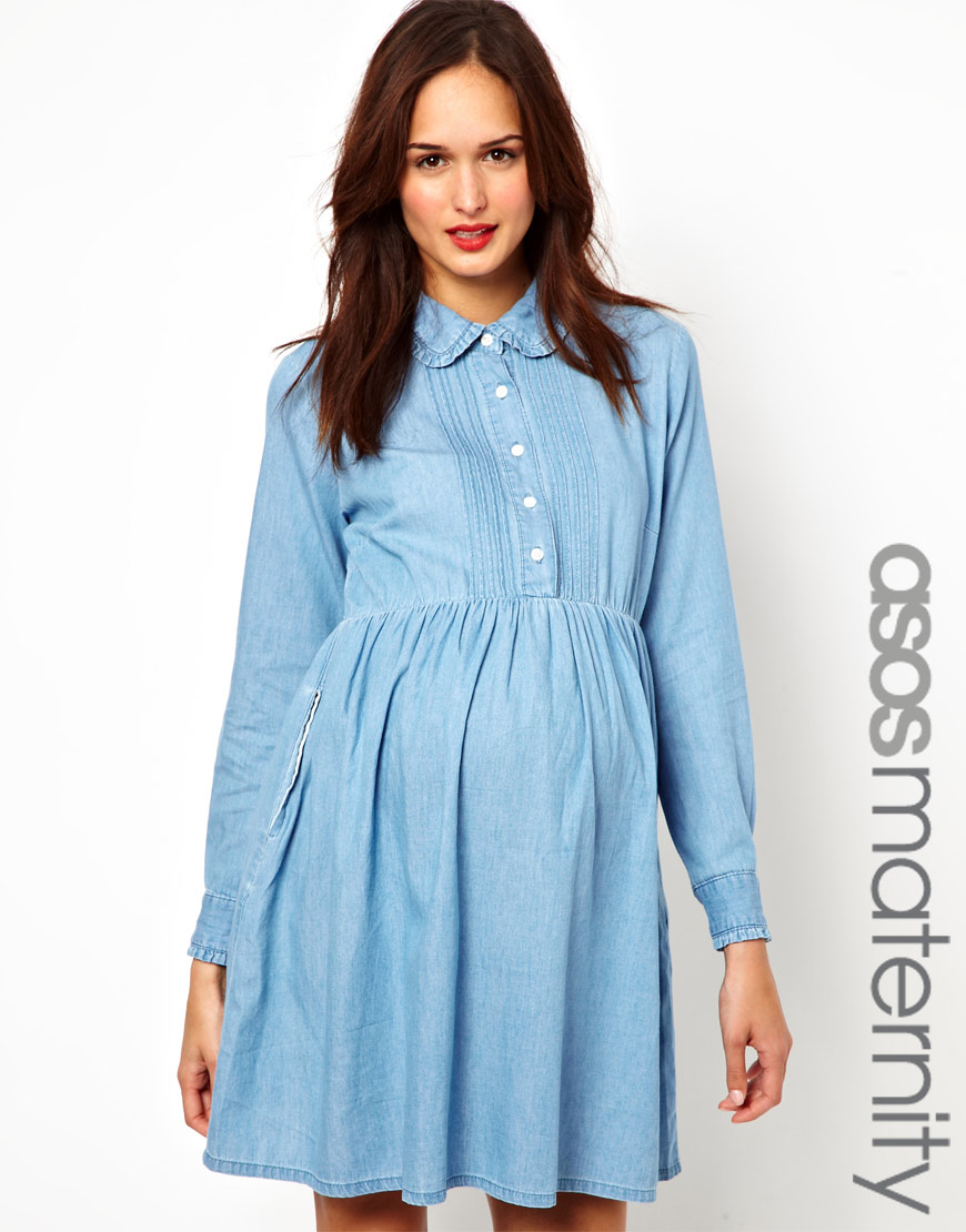 Exclusive Denim Adidas Top Ten 2000 Swaggy P Pes For: ASOS Exclusive Denim Smock Shirt Dress In Blue