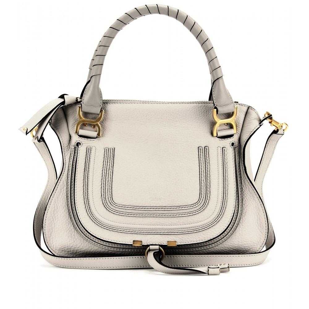 Chlo¨¦ Marcie Medium Leather Handbag in White (dove)   Lyst